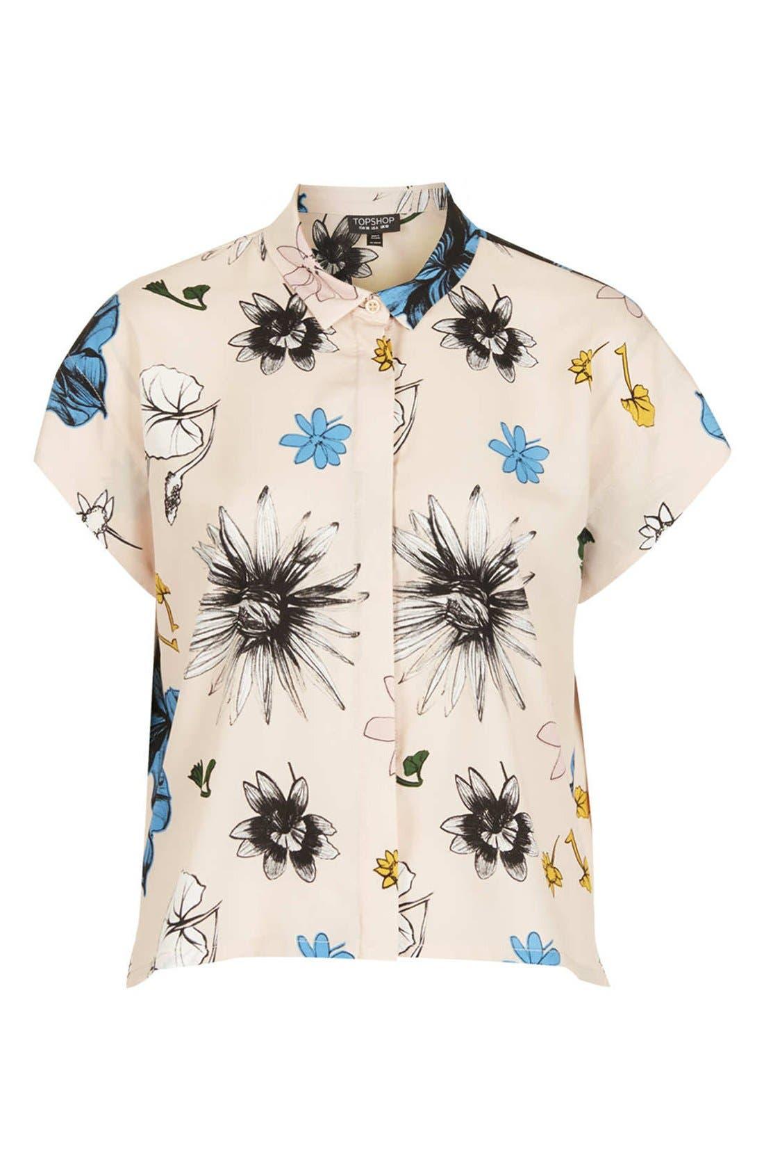 TOPSHOP, 'Sophie - Tokyo Bloom' Print Shirt, Alternate thumbnail 3, color, 250