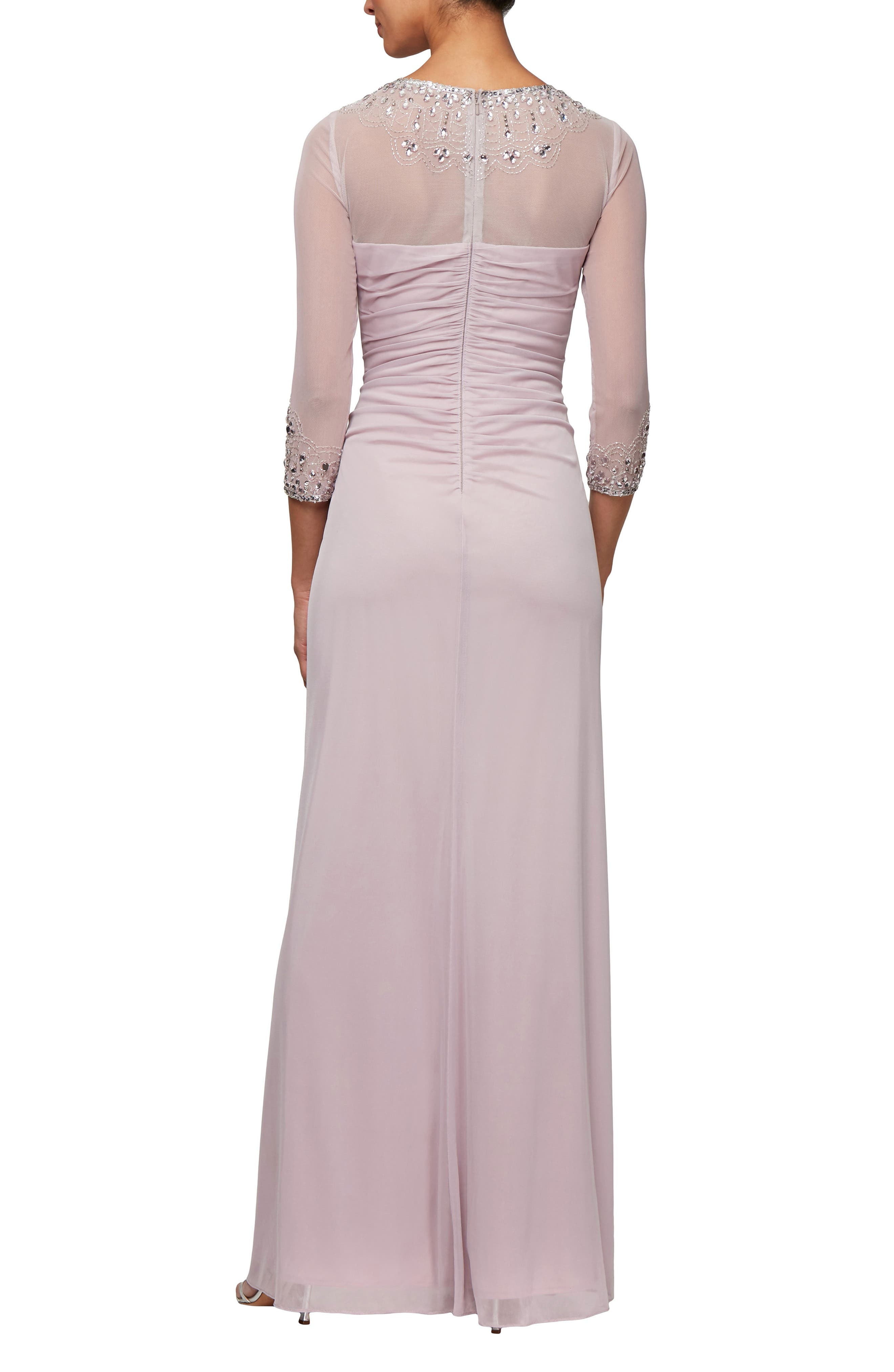 ALEX EVENINGS, Embellished A-Line Gown, Alternate thumbnail 2, color, SMOKEY ORCHID