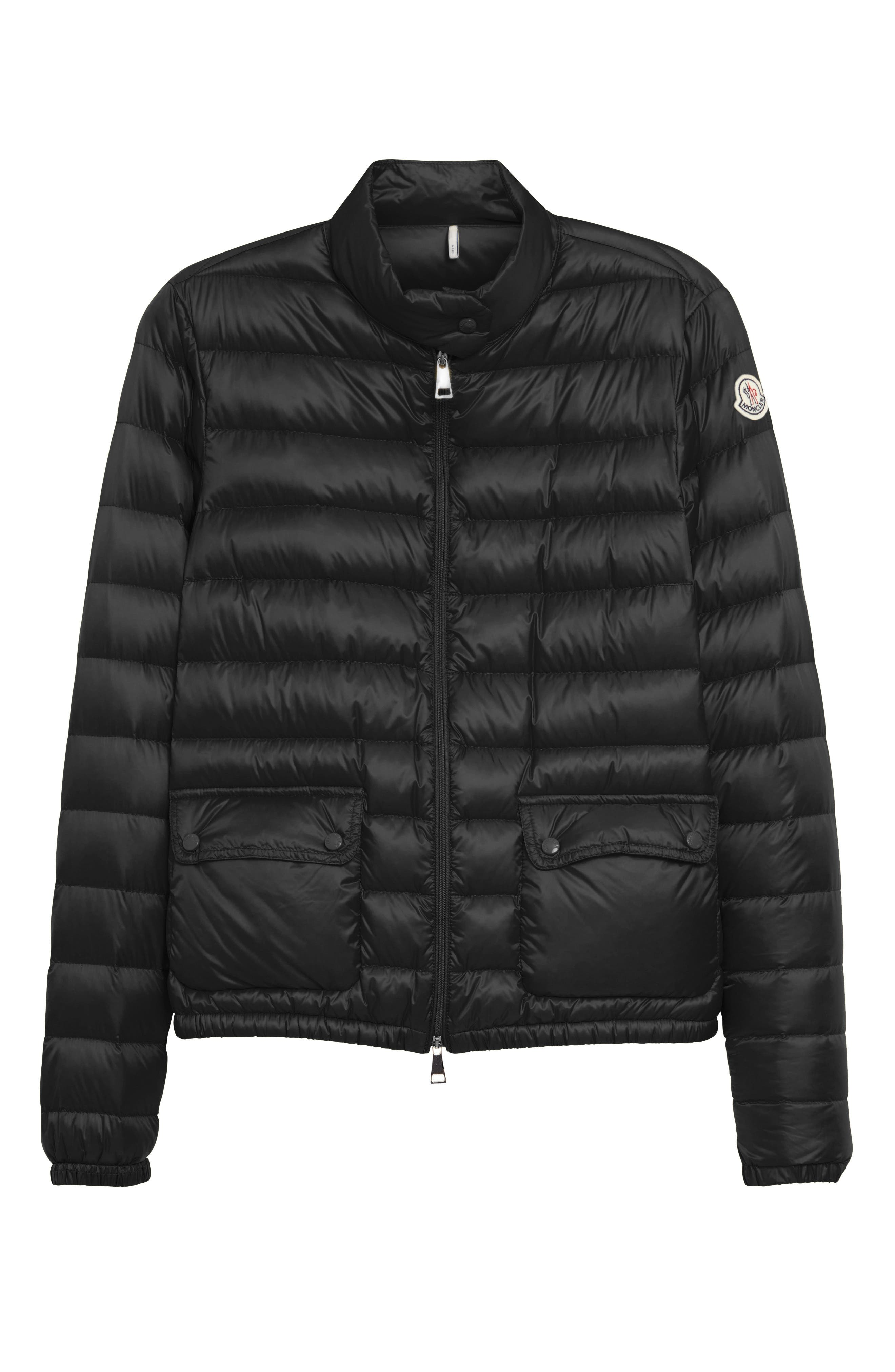 MONCLER, 'Lans' Water Resistant Short Down Jacket, Alternate thumbnail 5, color, 001