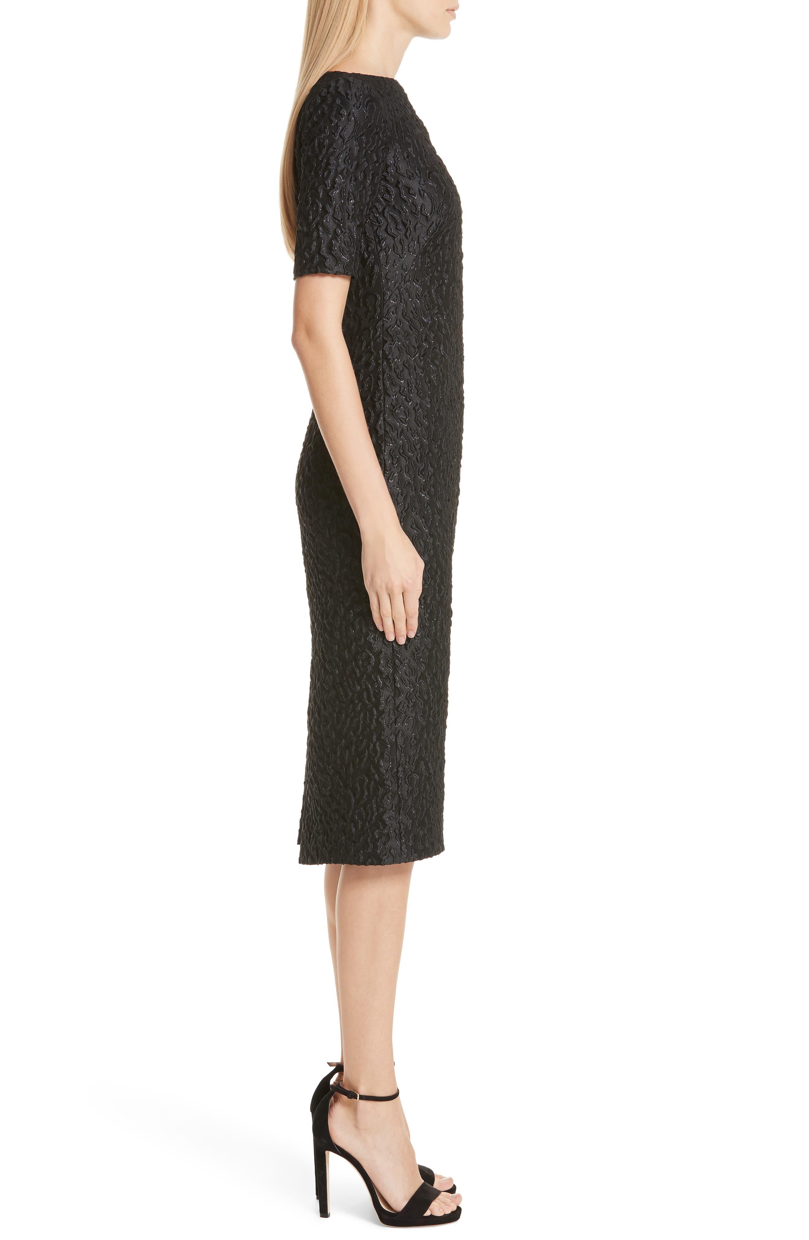 BRANDON MAXWELL, Leopard Jacquard Sheath Dress, Alternate thumbnail 4, color, BLACK