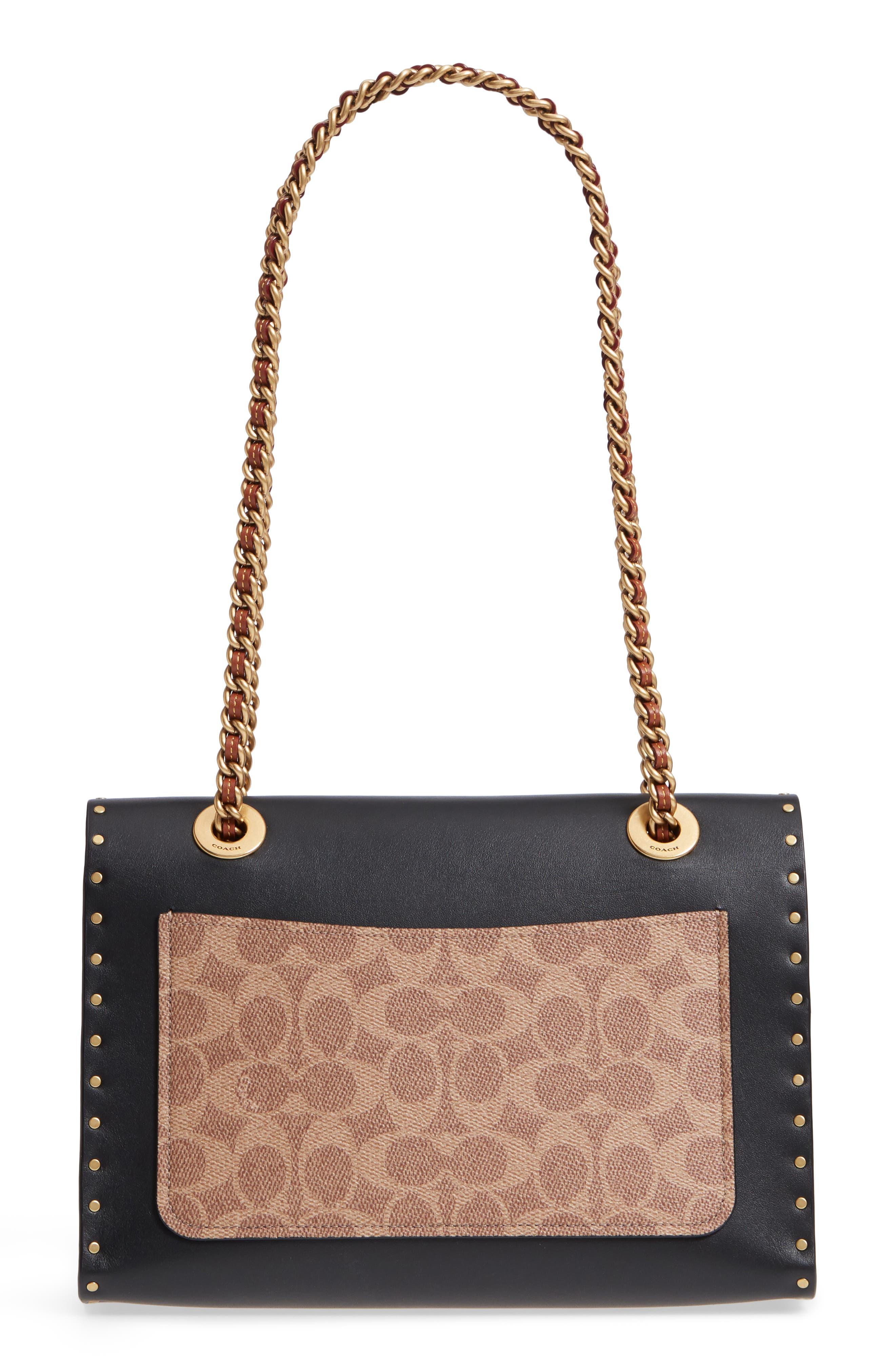COACH, Parker Leather & Genuine Snakeskin Shoulder Bag, Alternate thumbnail 4, color, BLACK MULTI