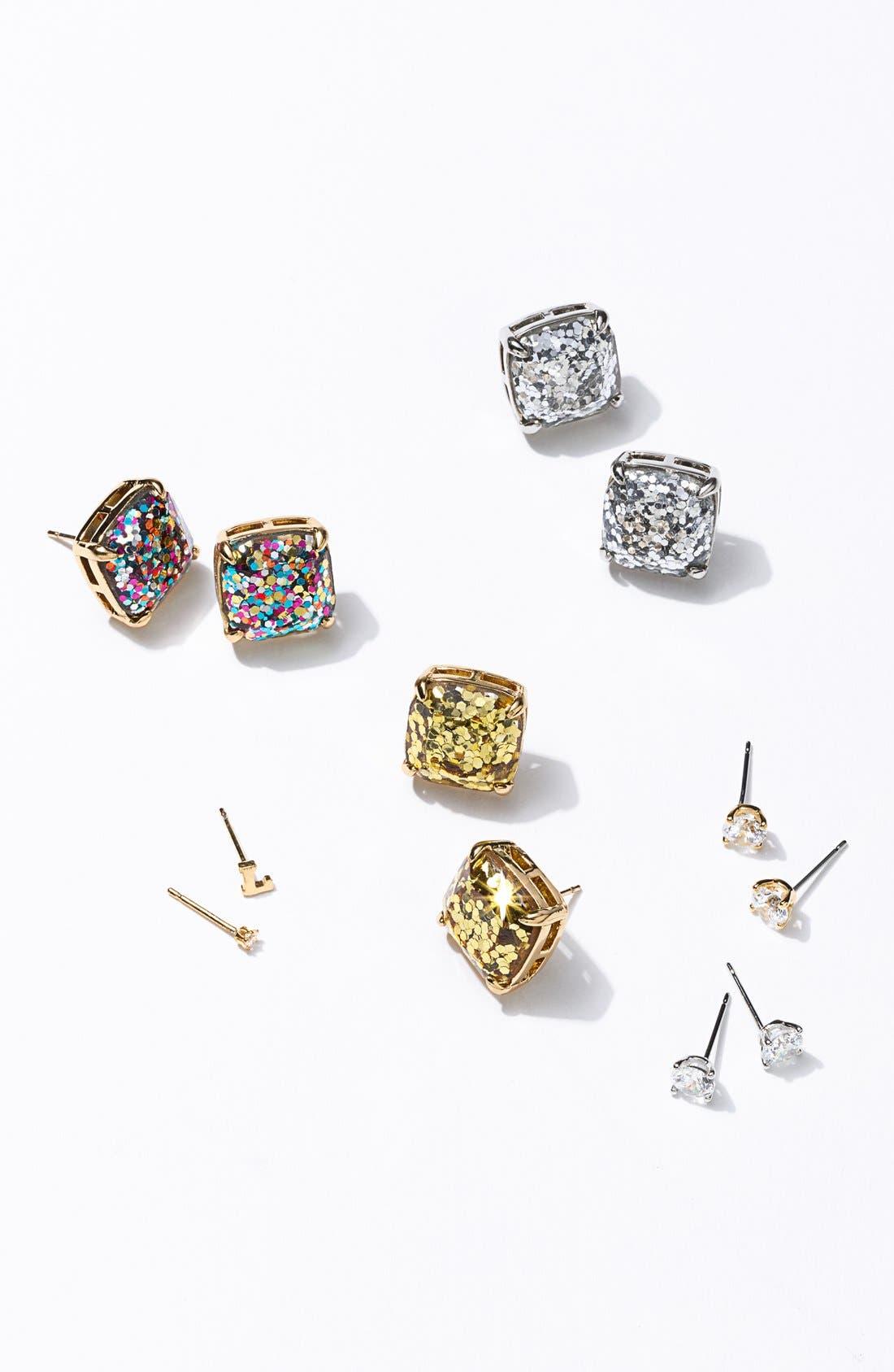 KATE SPADE NEW YORK, glitter stud earrings, Alternate thumbnail 3, color, MULTI GLITTER