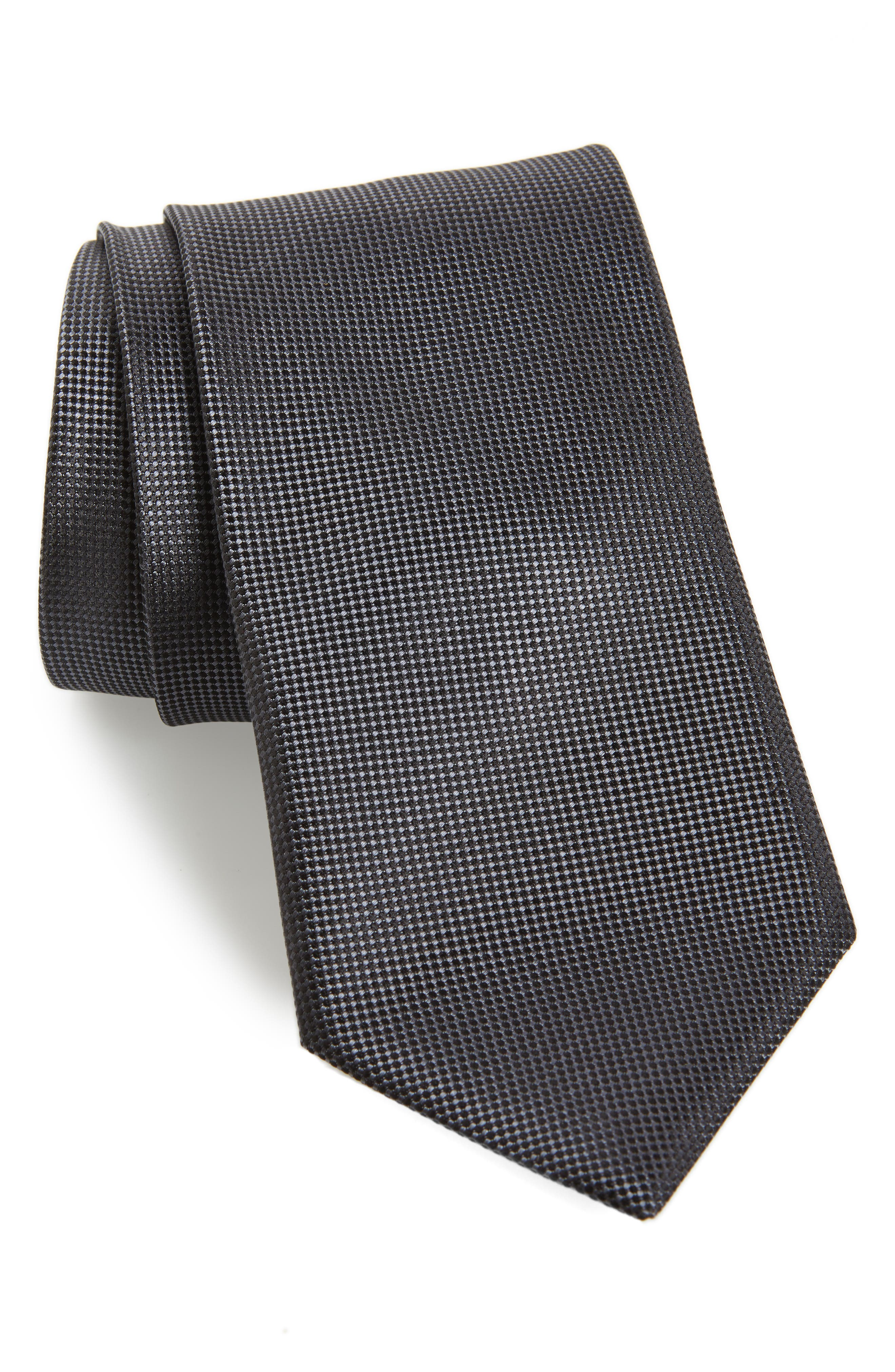 CANALI, Solid Silk Tie, Main thumbnail 1, color, BLACK