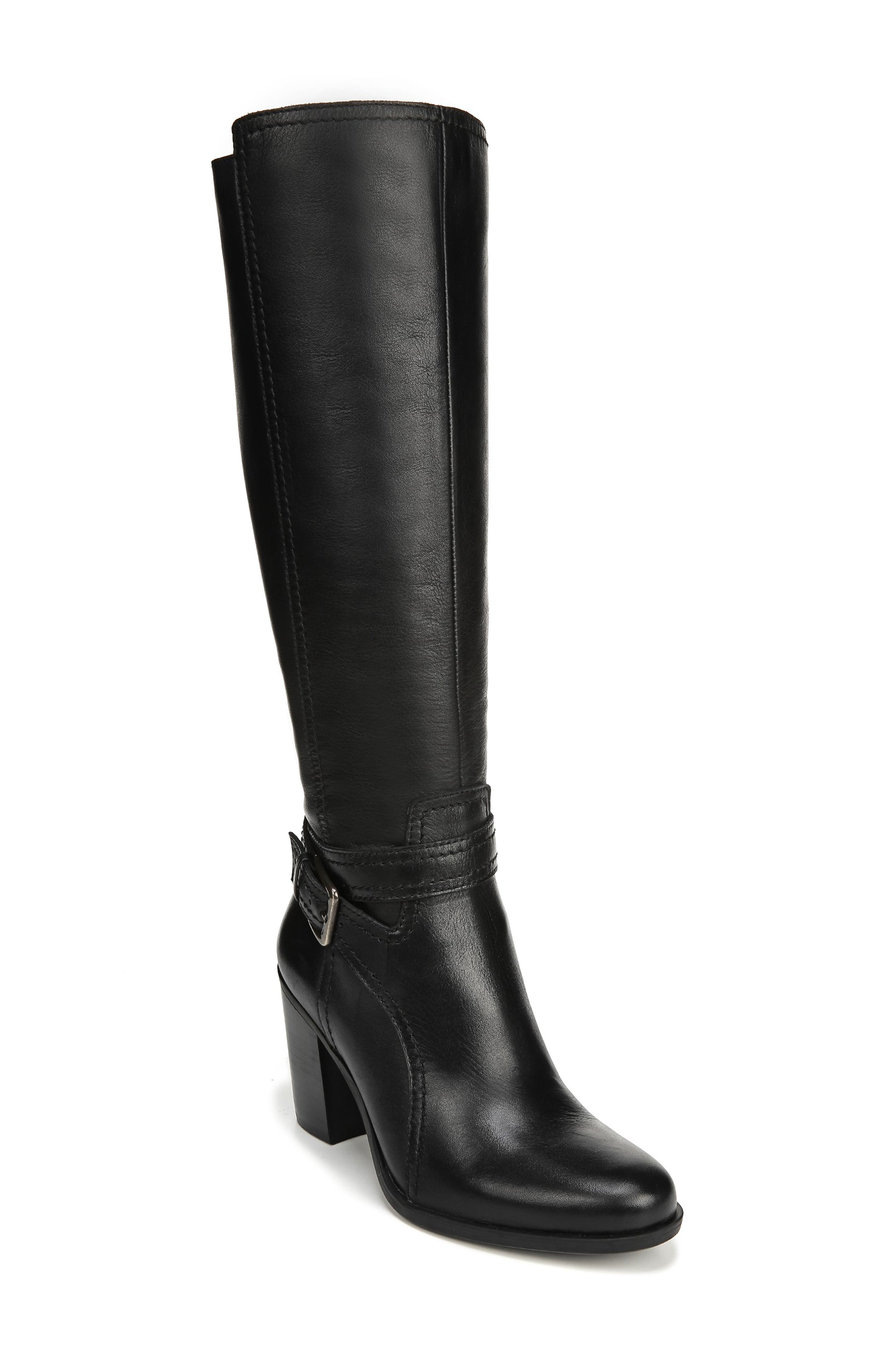 NATURALIZER, Kelsey Knee High Boot, Main thumbnail 1, color, BLACK LEATHER