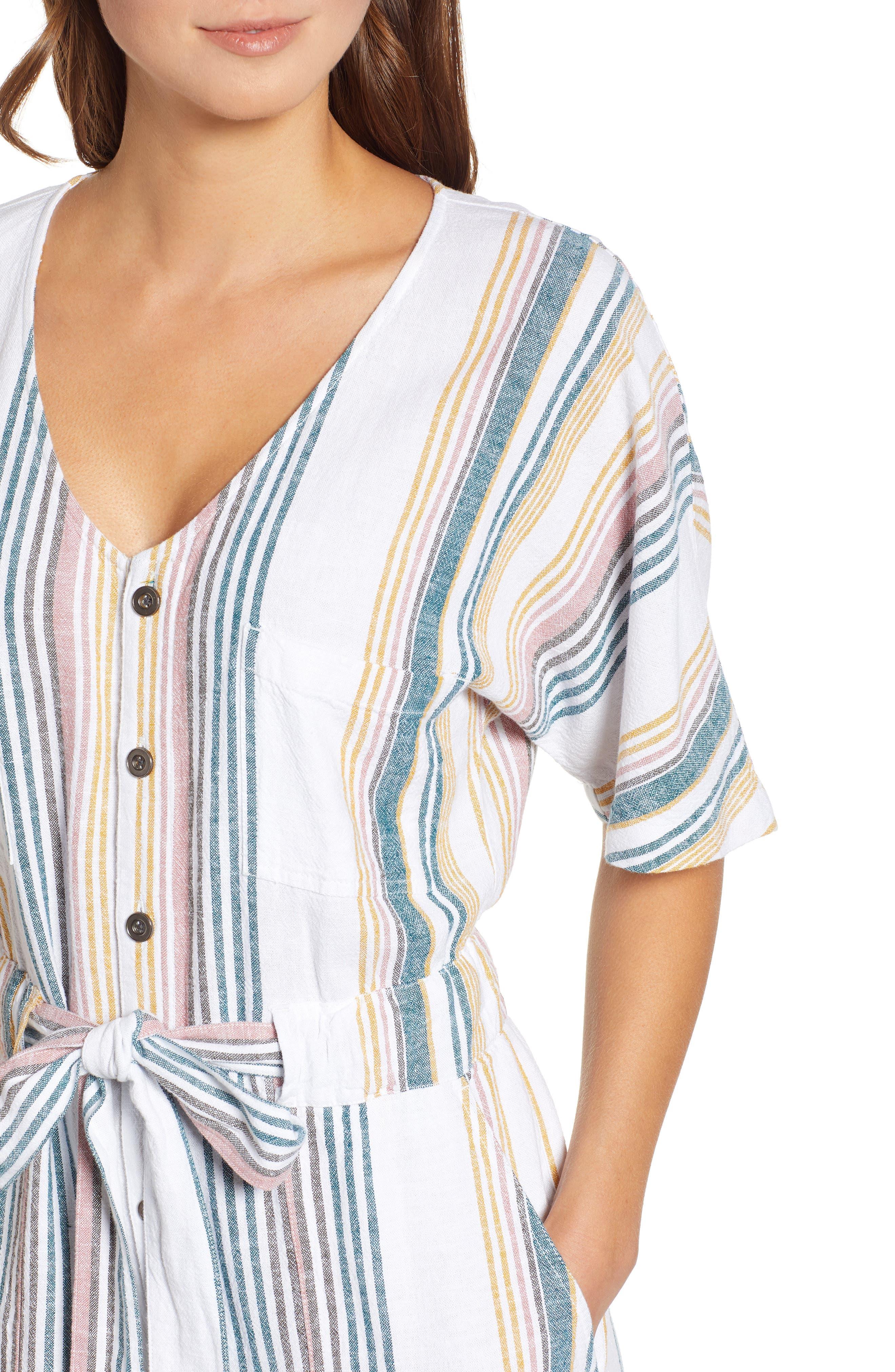 CASLON<SUP>®</SUP>, Stripe Jumpsuit, Alternate thumbnail 5, color, IVORY MULTI STRIPE