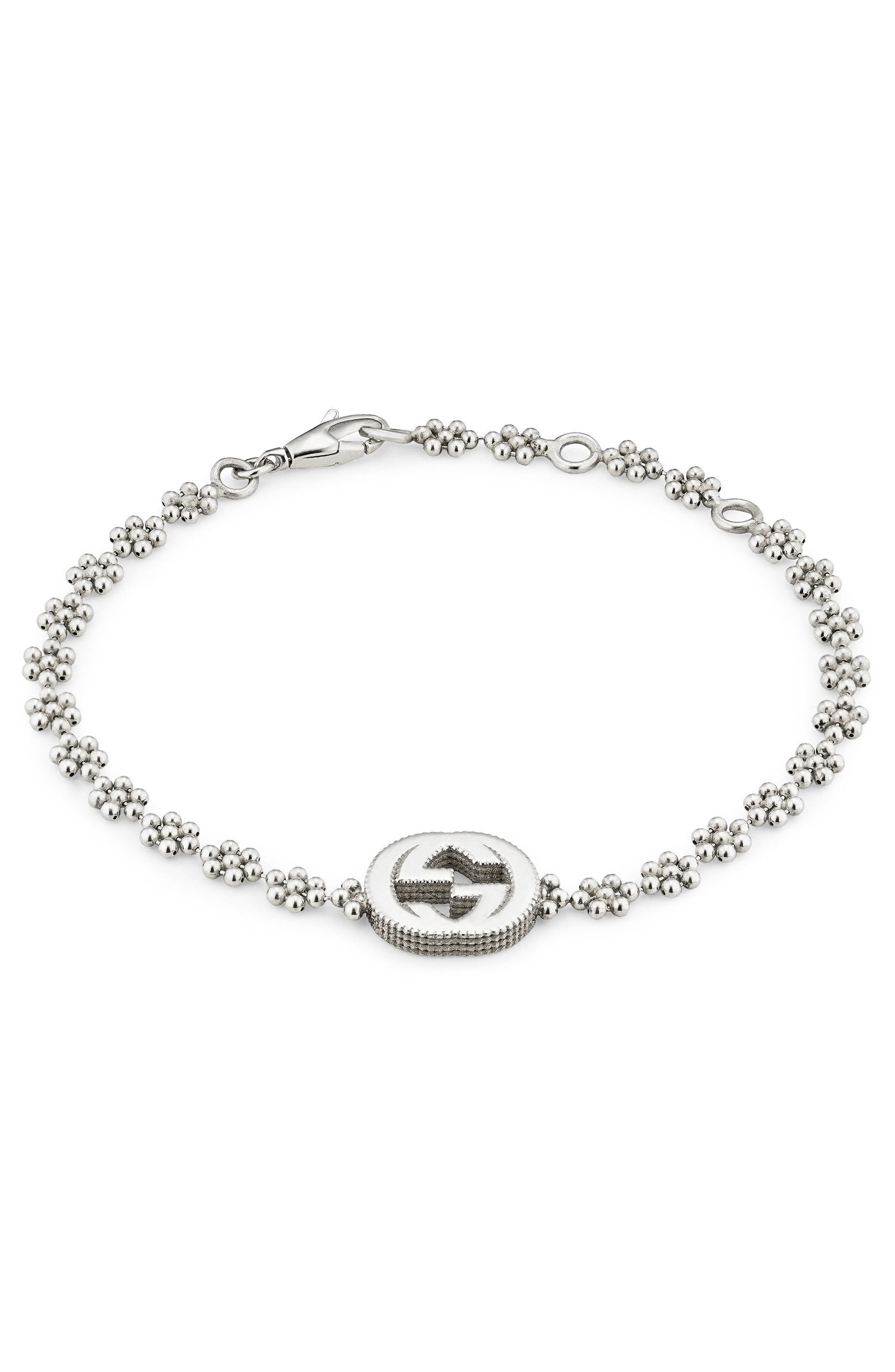 GUCCI, Interlocking-G Bracelet, Main thumbnail 1, color, STERLING SILVER
