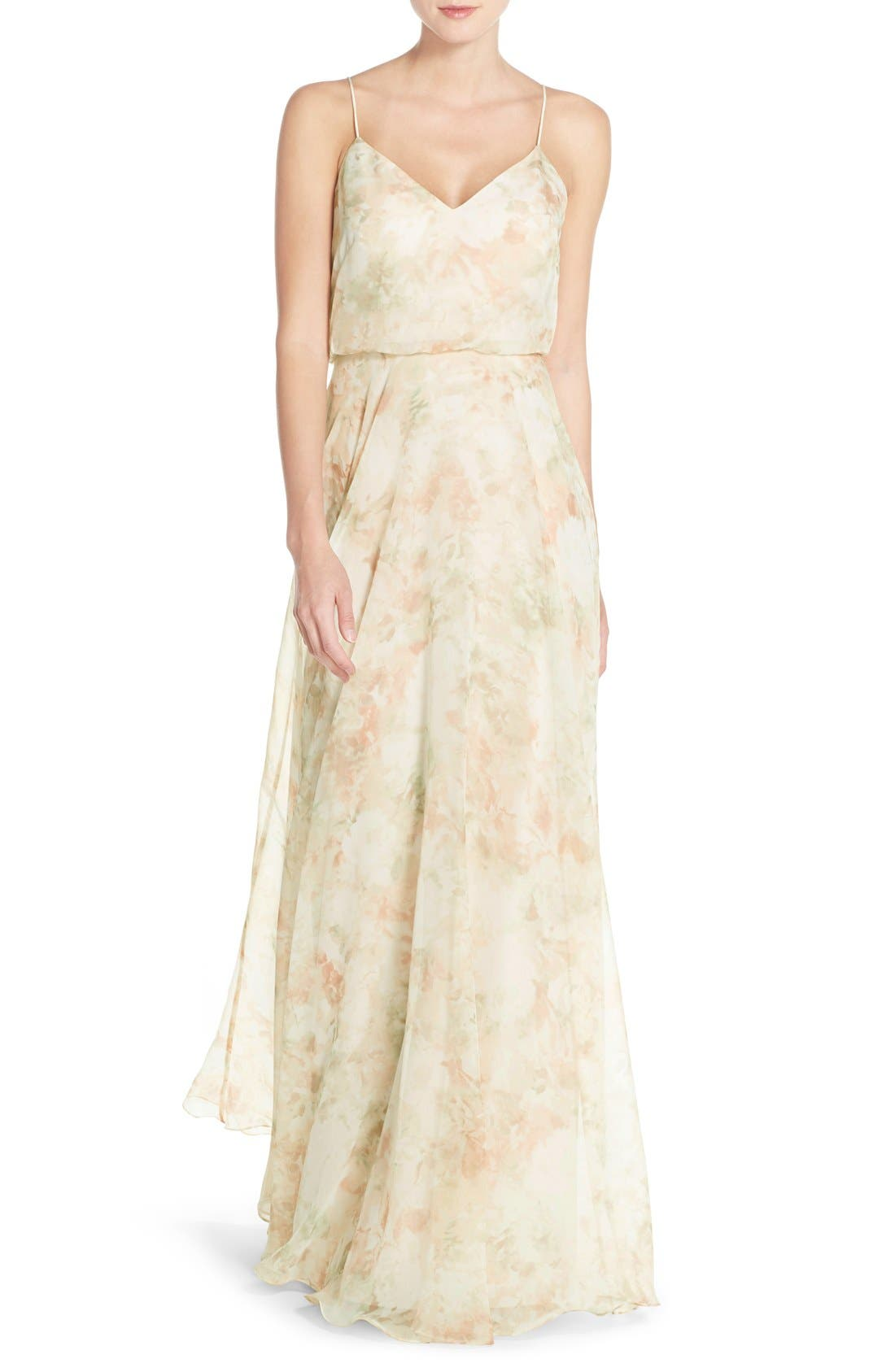 JENNY YOO, Inesse V-Neck Chiffon Gown, Main thumbnail 1, color, 690