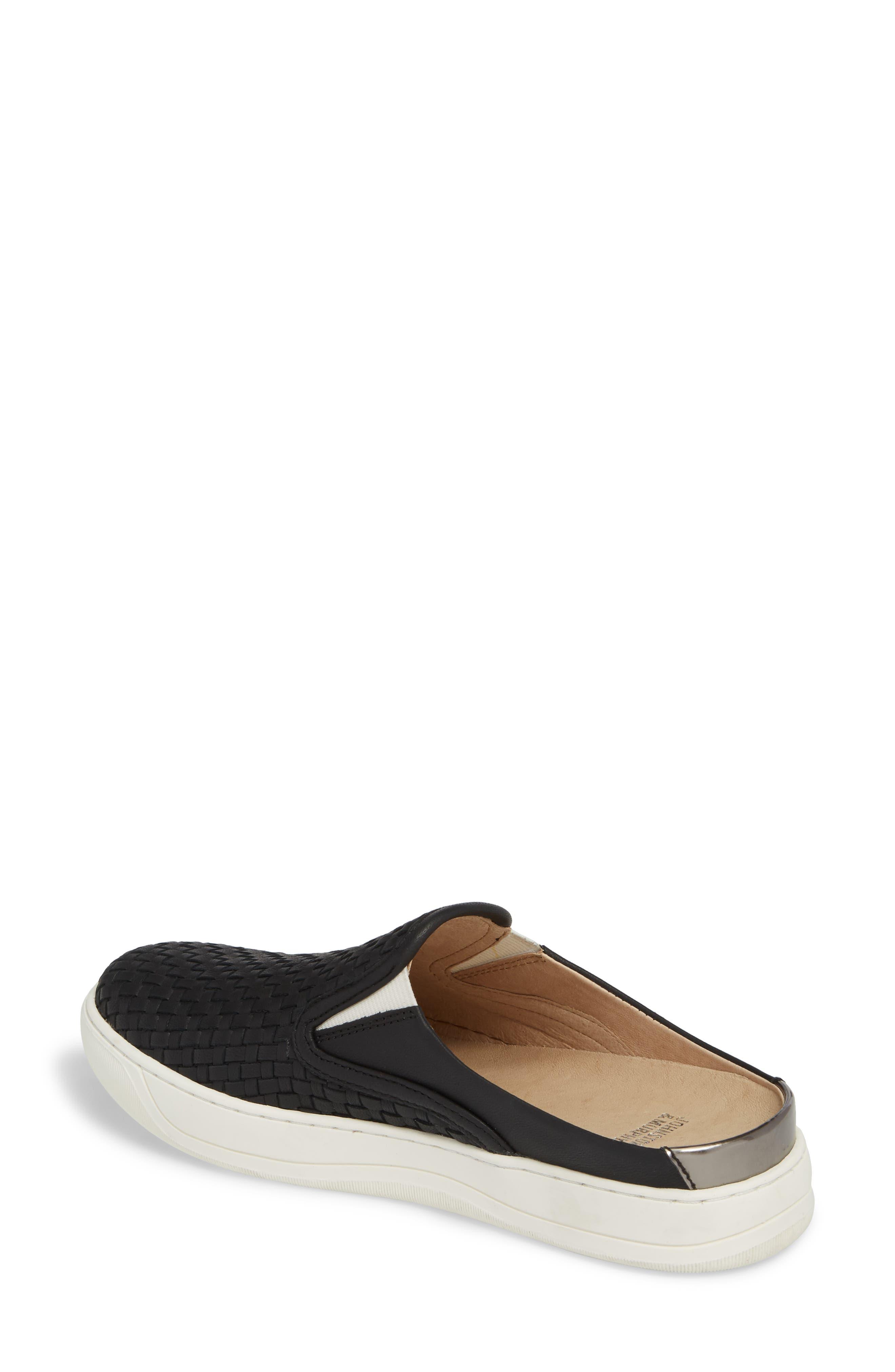 JOHNSTON & MURPHY, Evie Slip-On Sneaker, Alternate thumbnail 2, color, BLACK LEATHER