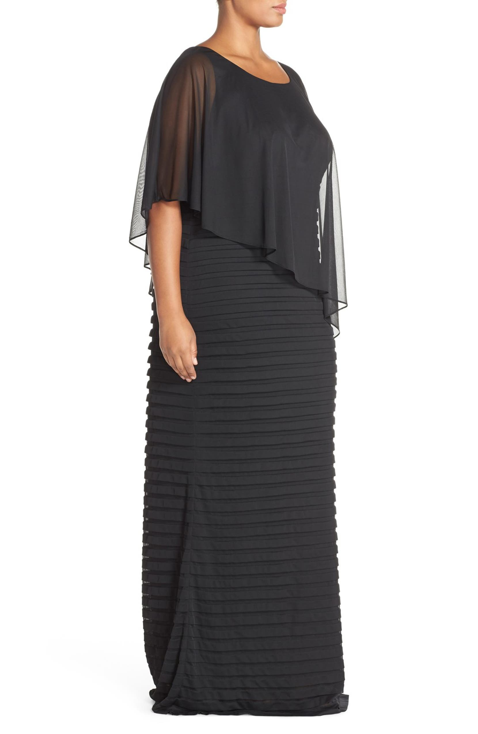 5e49c028 Adrianna Papell Chiffon Overlay Shutter Pleat Gown (Plus Size) | Nordstrom