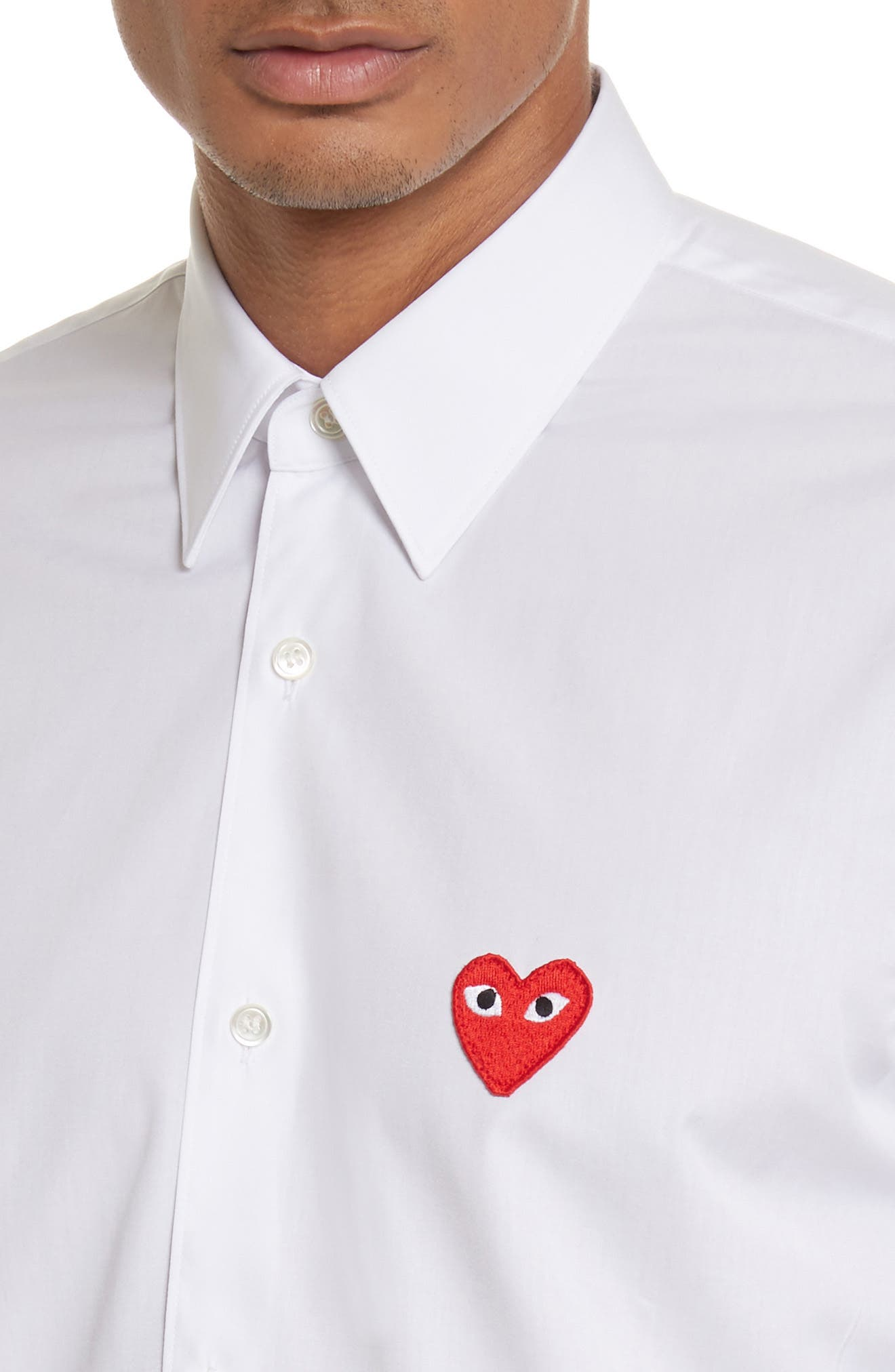 COMME DES GARÇONS PLAY, Woven Cotton Shirt, Alternate thumbnail 5, color, WHITE