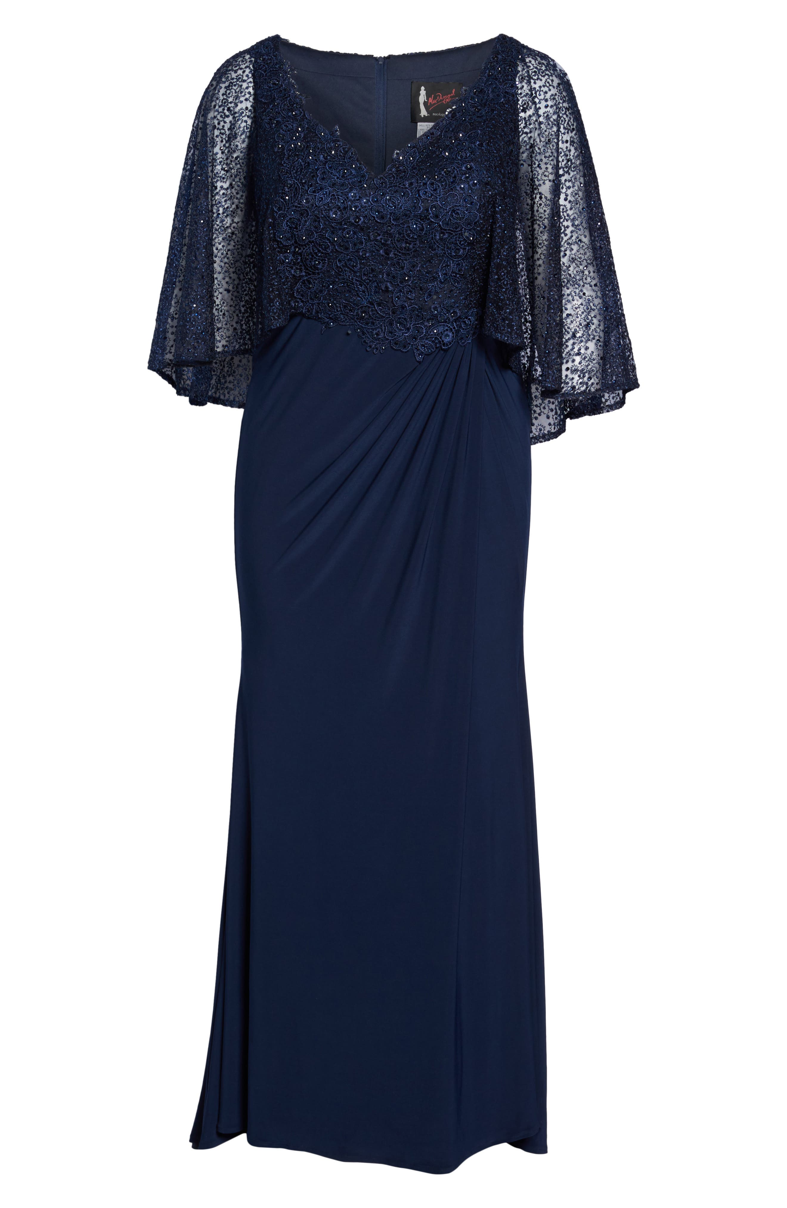 MAC DUGGAL, Lace Capelet Column Gown, Alternate thumbnail 6, color, MIDNIGHT