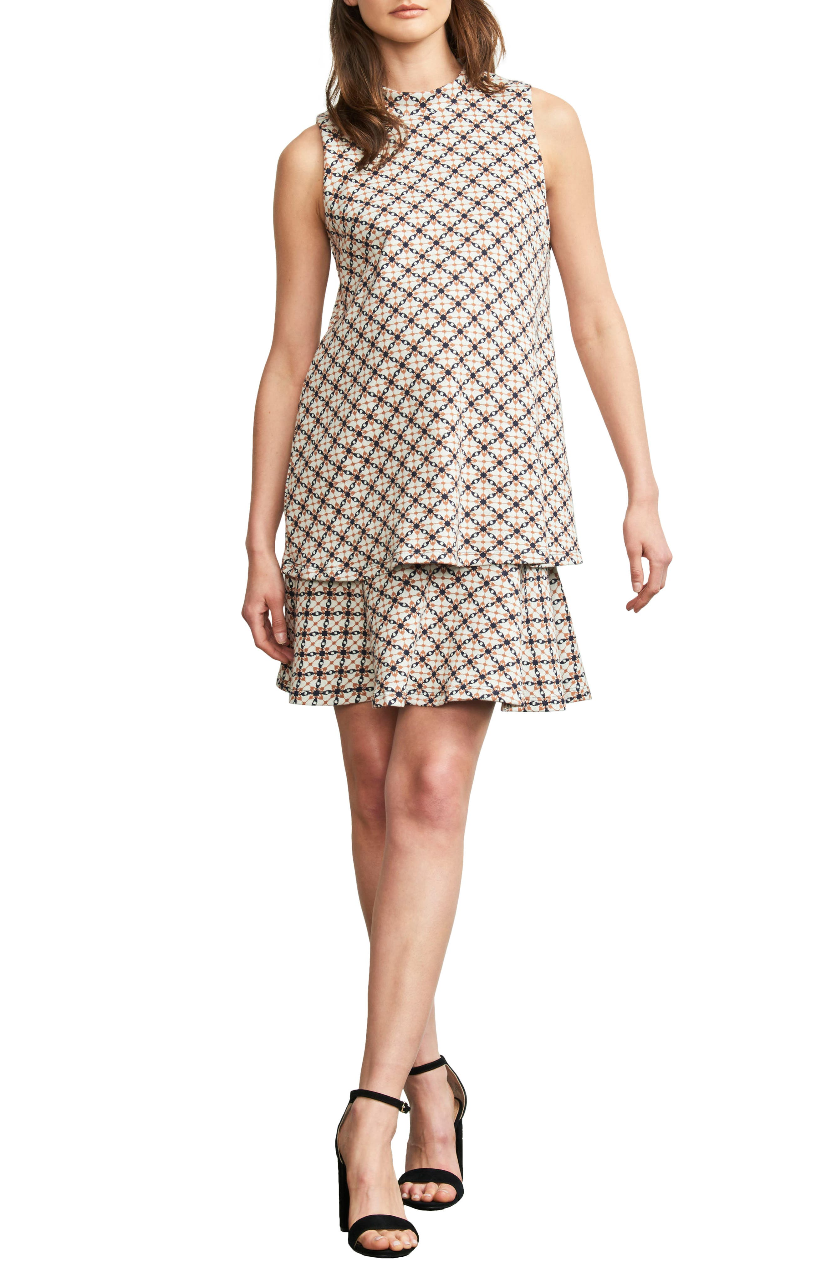 MATERNAL AMERICA, 'Lucy' Maternity Dress, Main thumbnail 1, color, JACQUARD