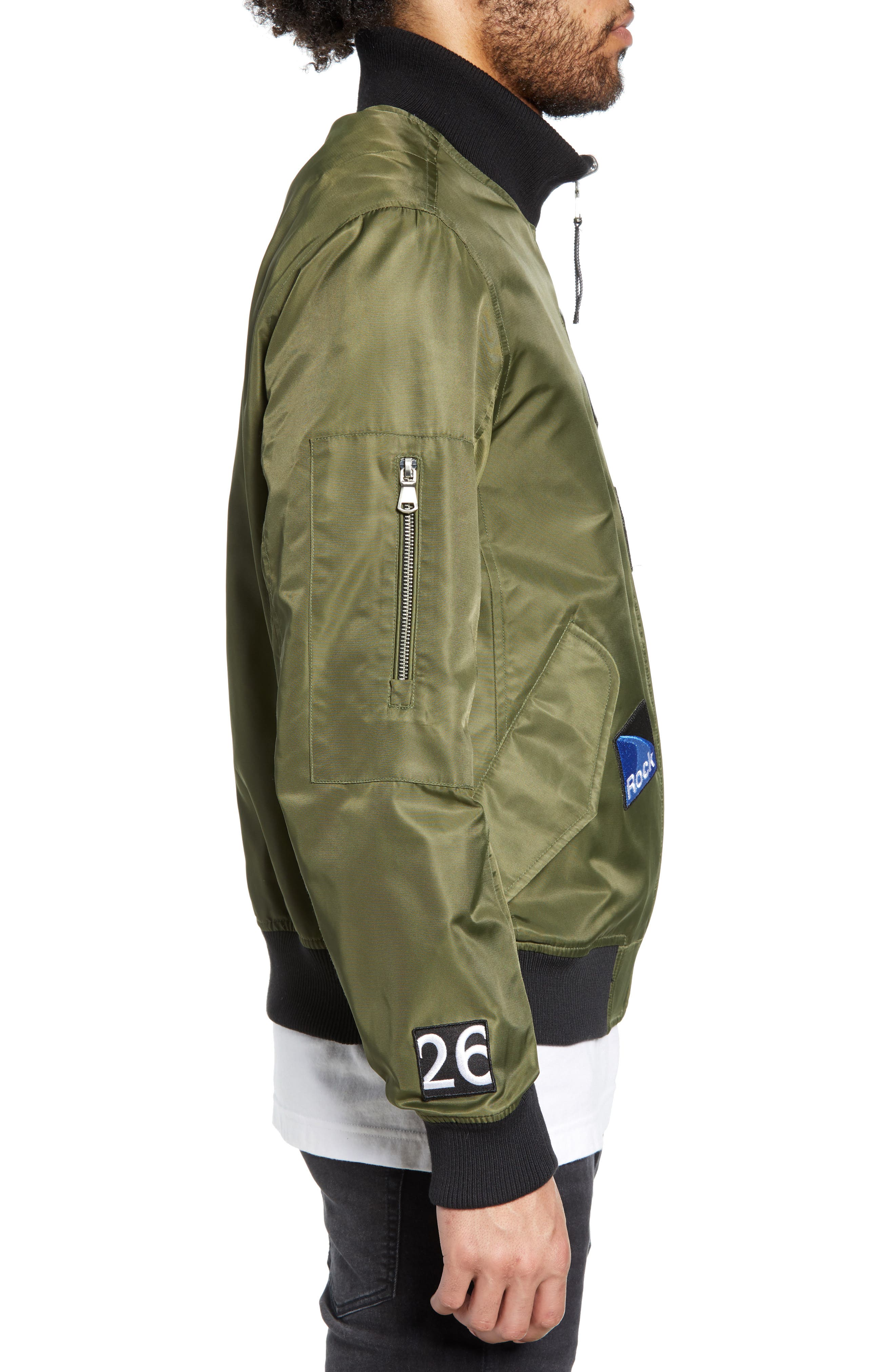 THE VERY WARM, Lucian Reversible Bomber Jacket, Alternate thumbnail 5, color, ARMY GREEN