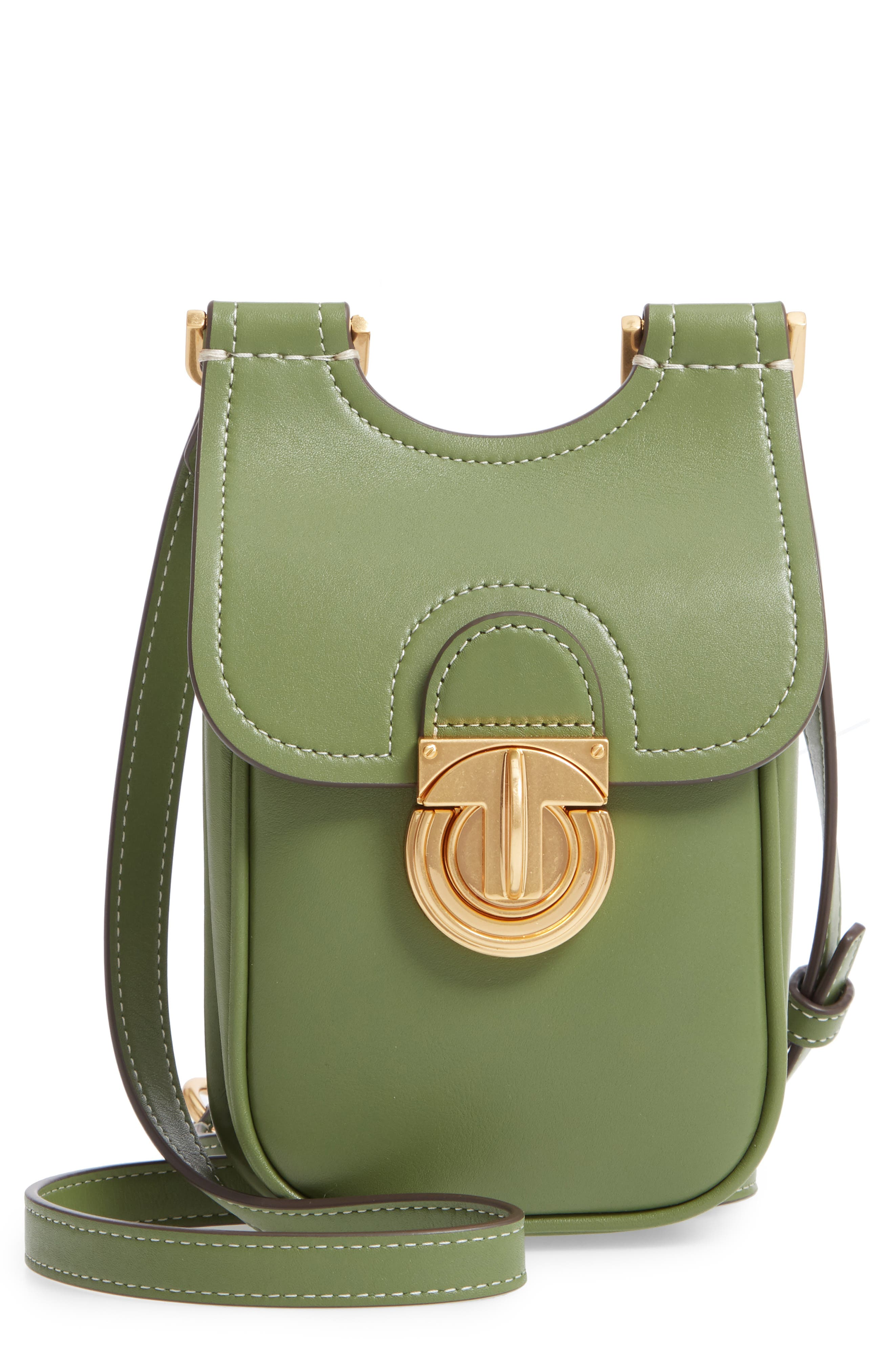 TORY BURCH, James Leather Phone Crossbody Bag, Main thumbnail 1, color, SPINACH