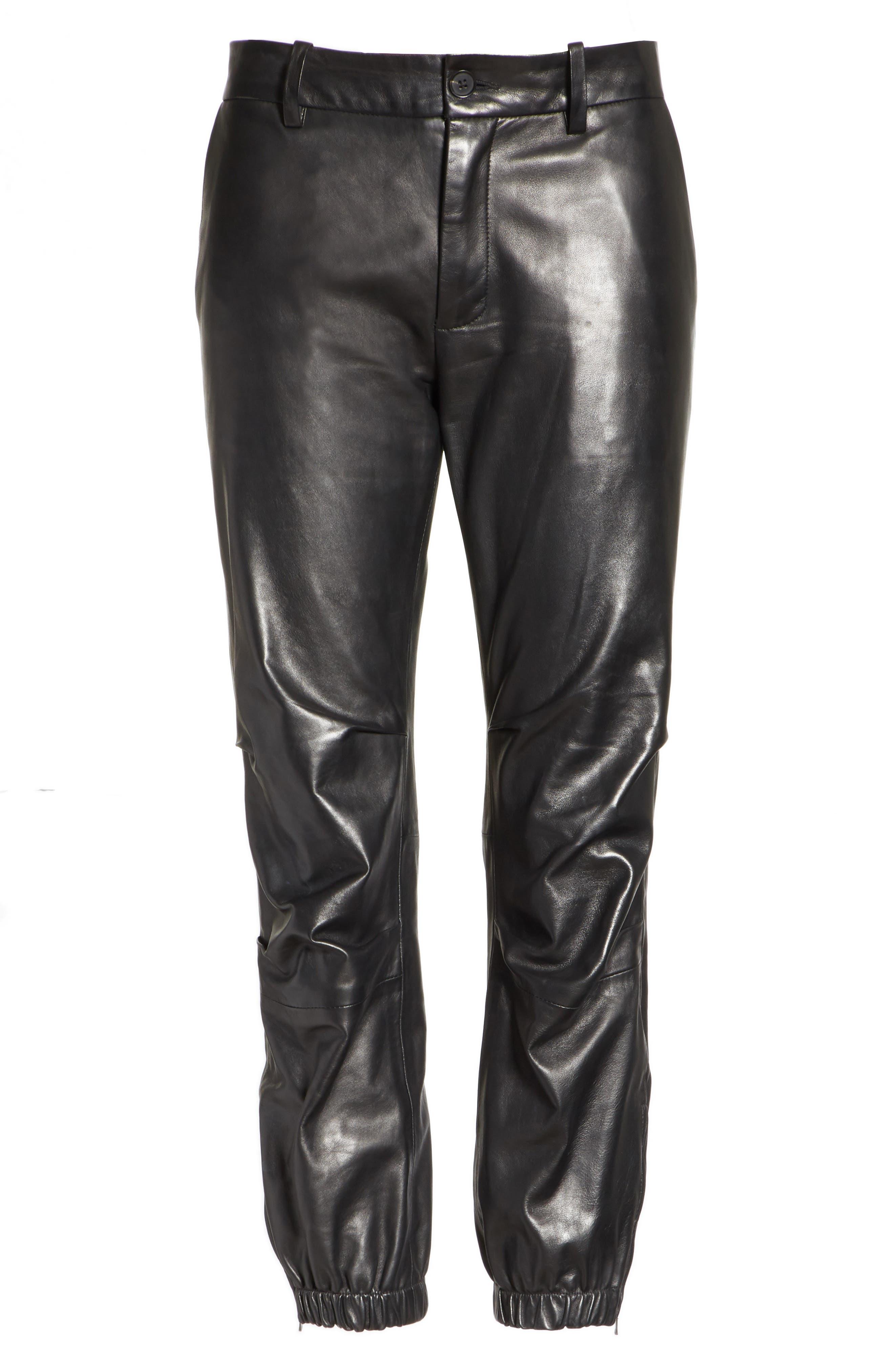NILI LOTAN, French Military Leather Crop Pants, Alternate thumbnail 6, color, BLACK