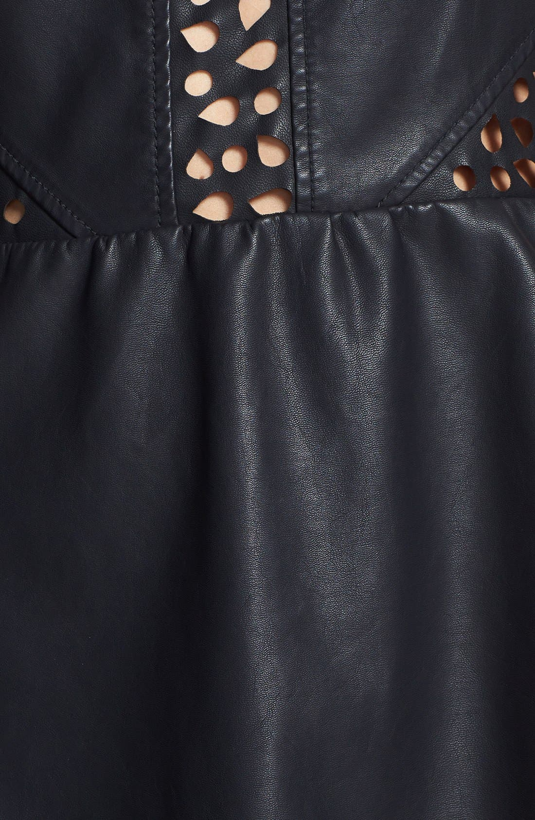 C. LUCE, Laser Cut Faux Leather Skater Dress, Alternate thumbnail 2, color, 001
