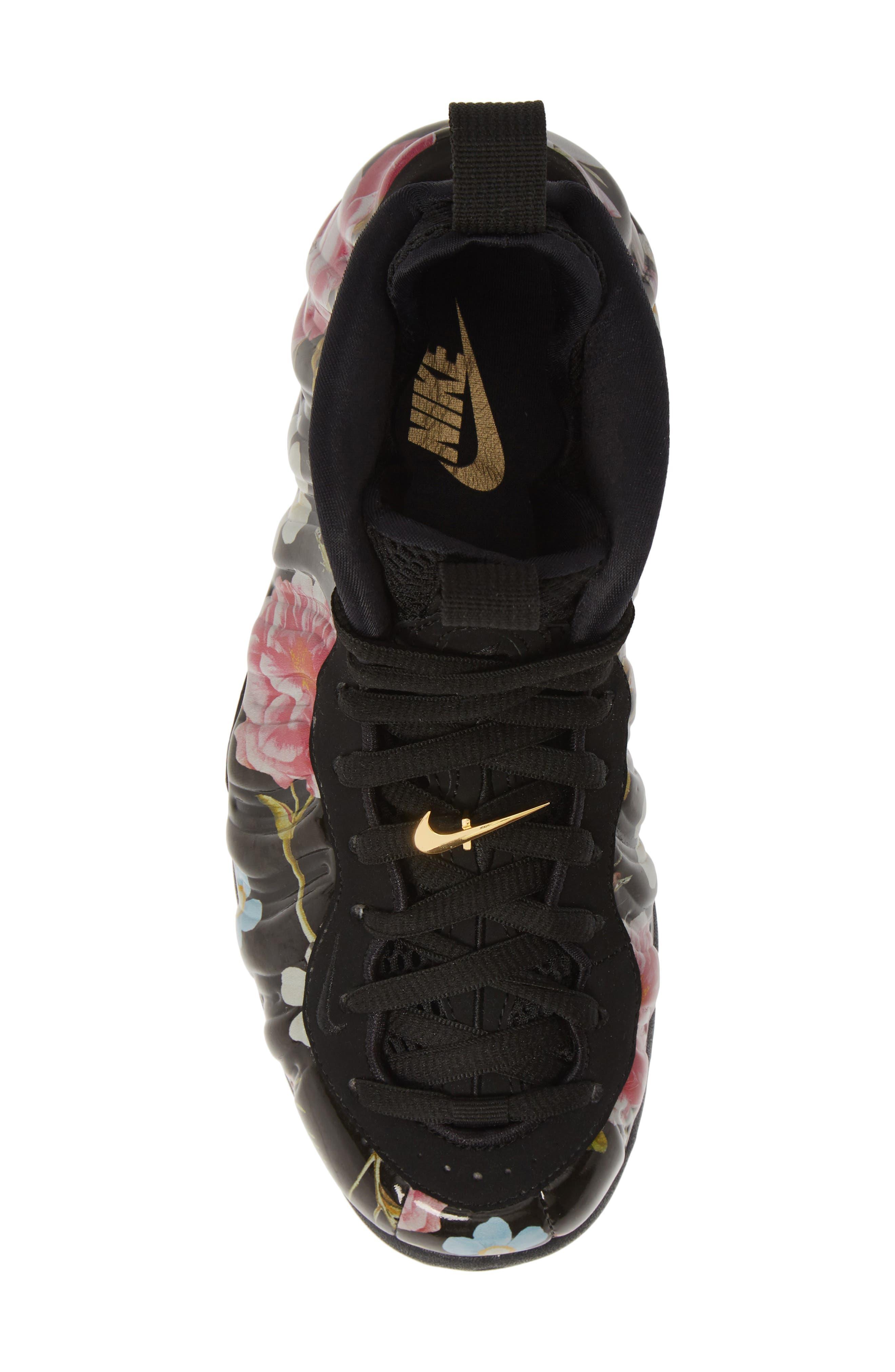 NIKE, Air Foamposite One Sneaker, Alternate thumbnail 5, color, BLACK/ BLACK-METALLIC GOLD