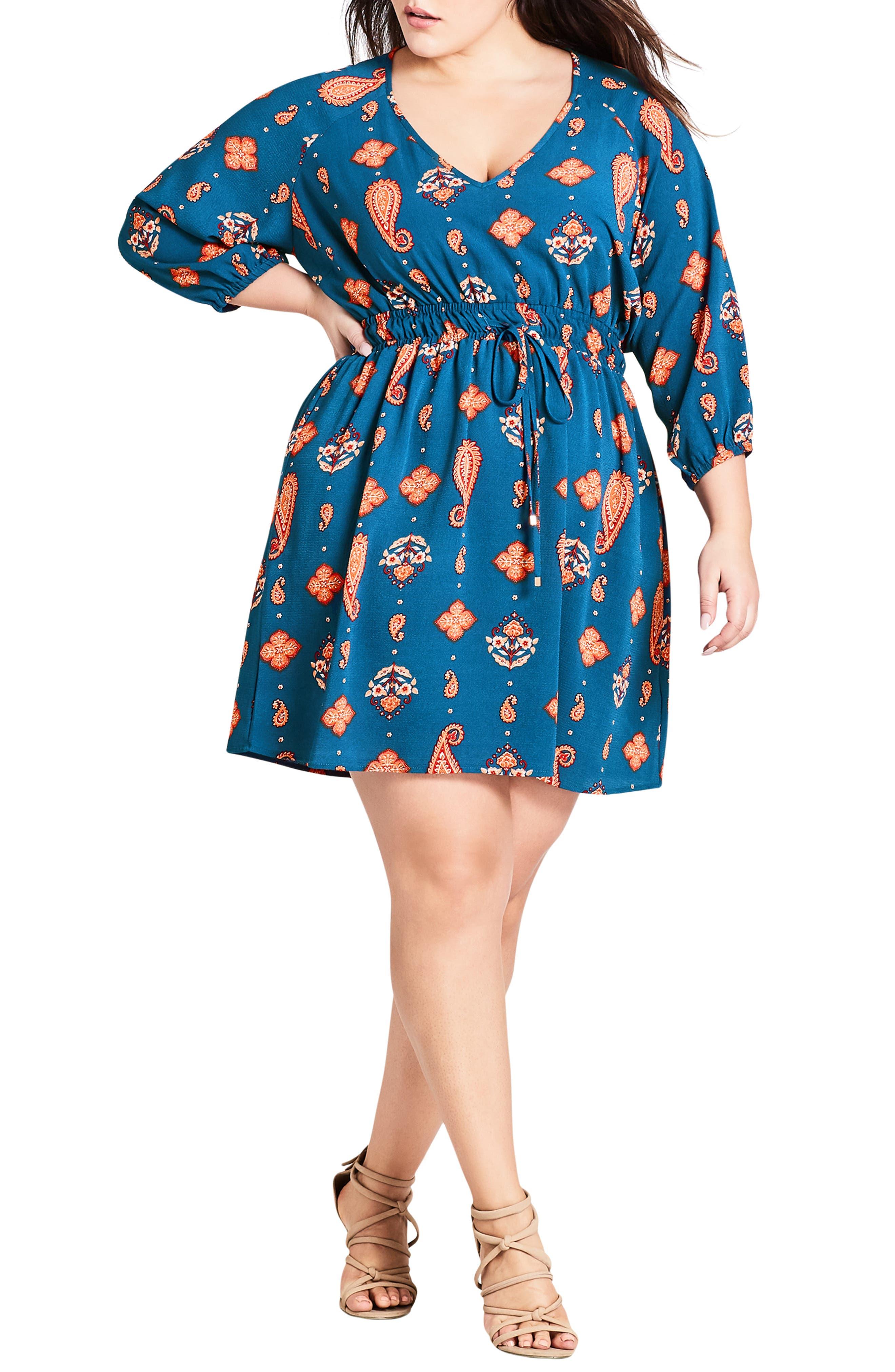Plus Size City Chic Free Spirit Drawstring Waist Dress, Blue
