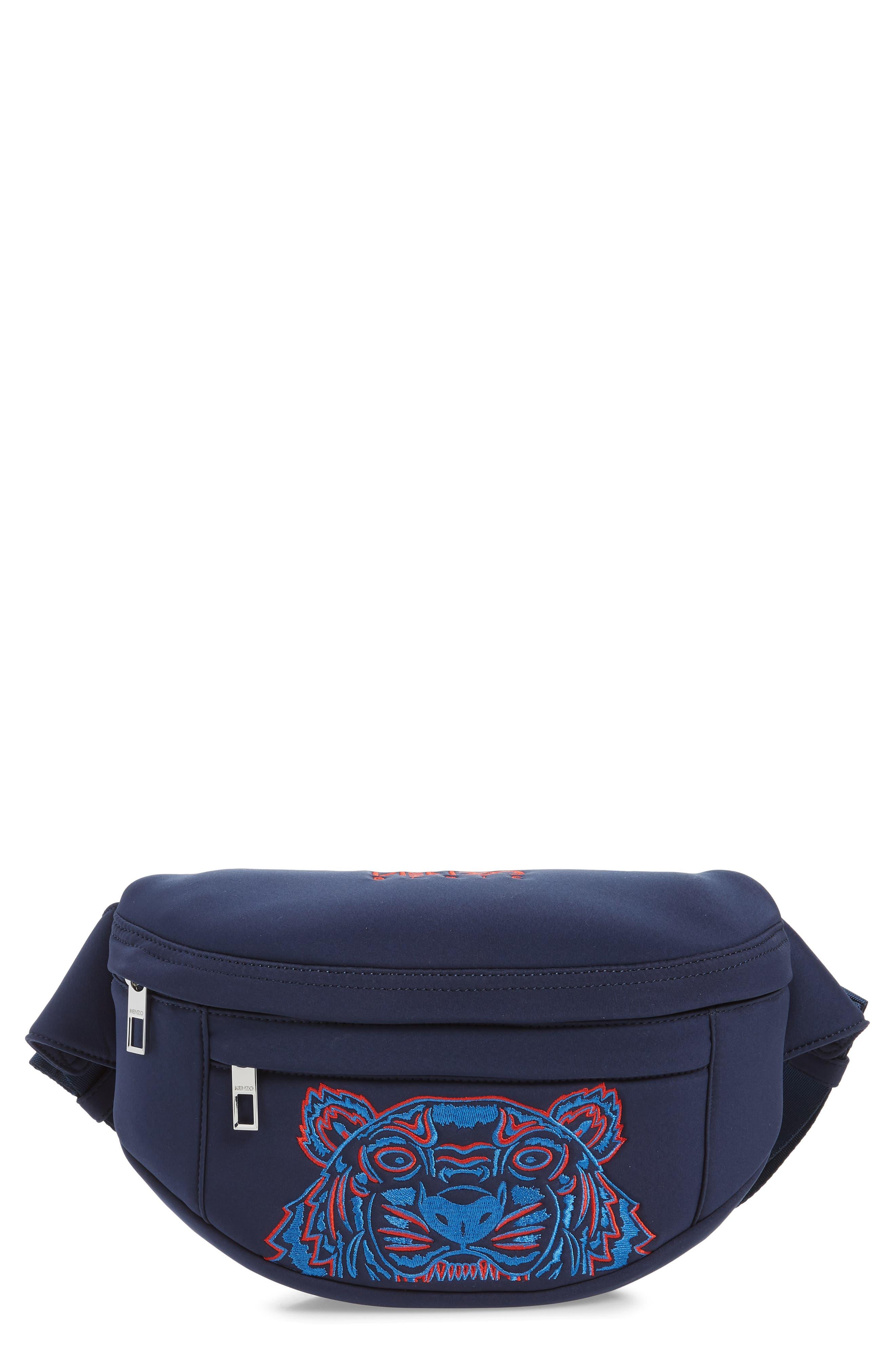 KENZO Embroidered Tiger Belt Bag, Main, color, 76A NAVY BLUE