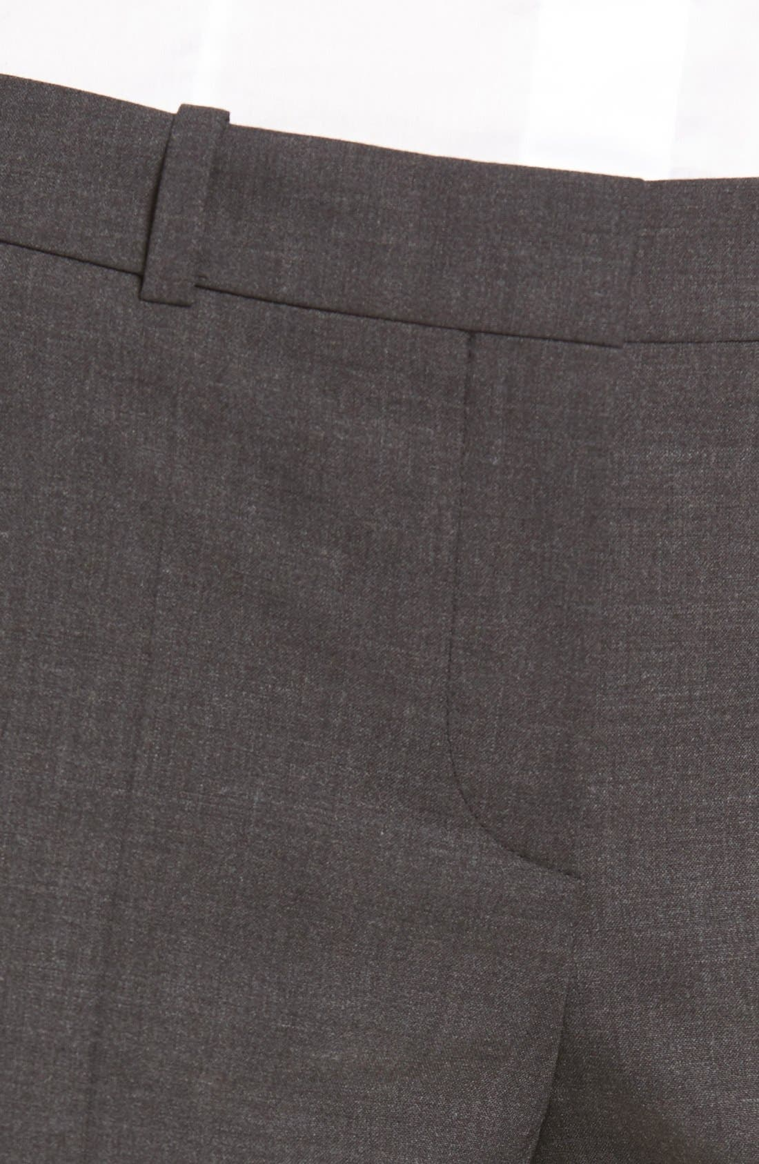 BOSS, Tulea3 Tropical Stretch Wool Trousers, Alternate thumbnail 9, color, CHARCOAL