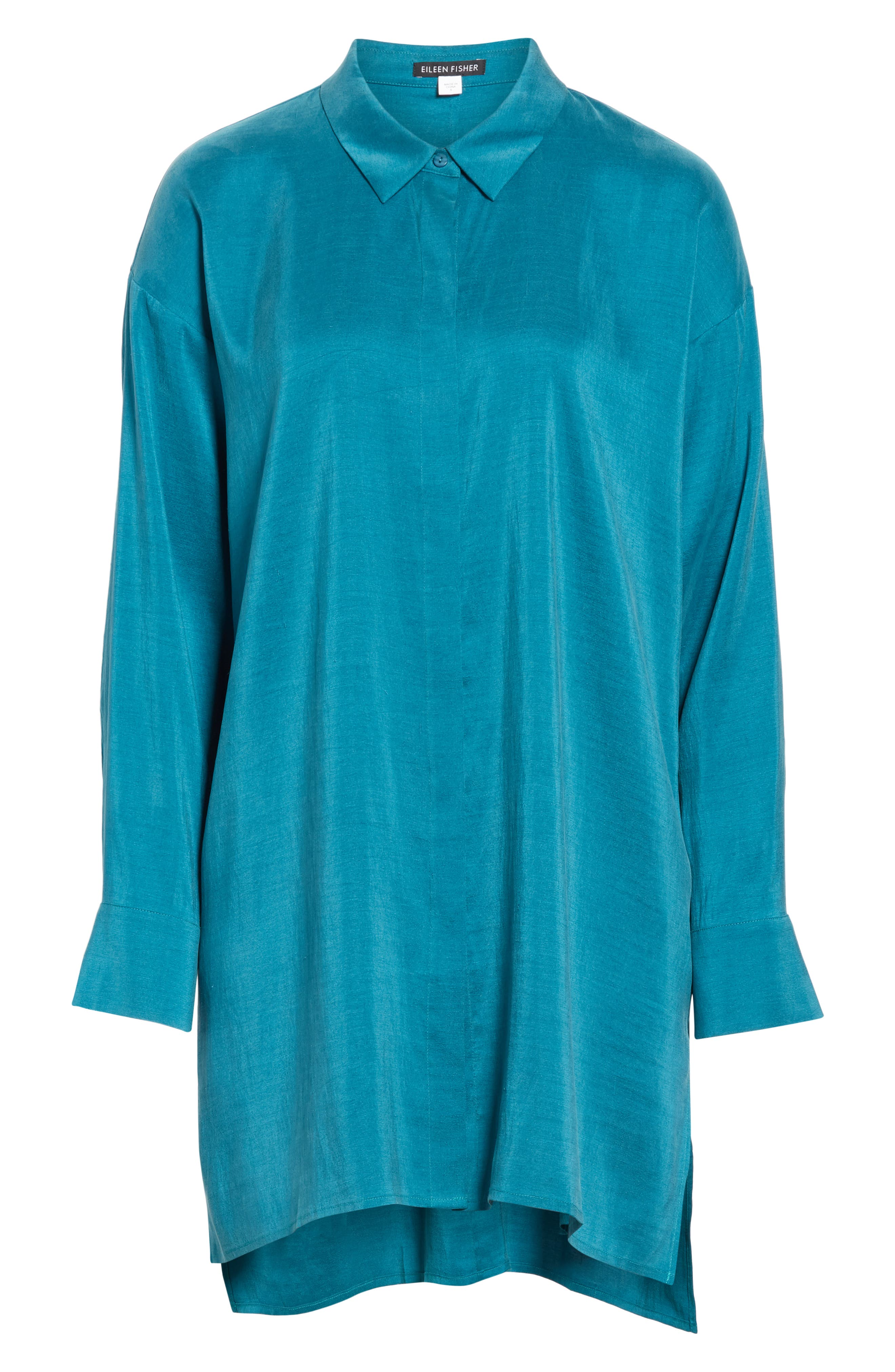 EILEEN FISHER, Long Classic Collar Silk Shirt, Alternate thumbnail 6, color, TEAL