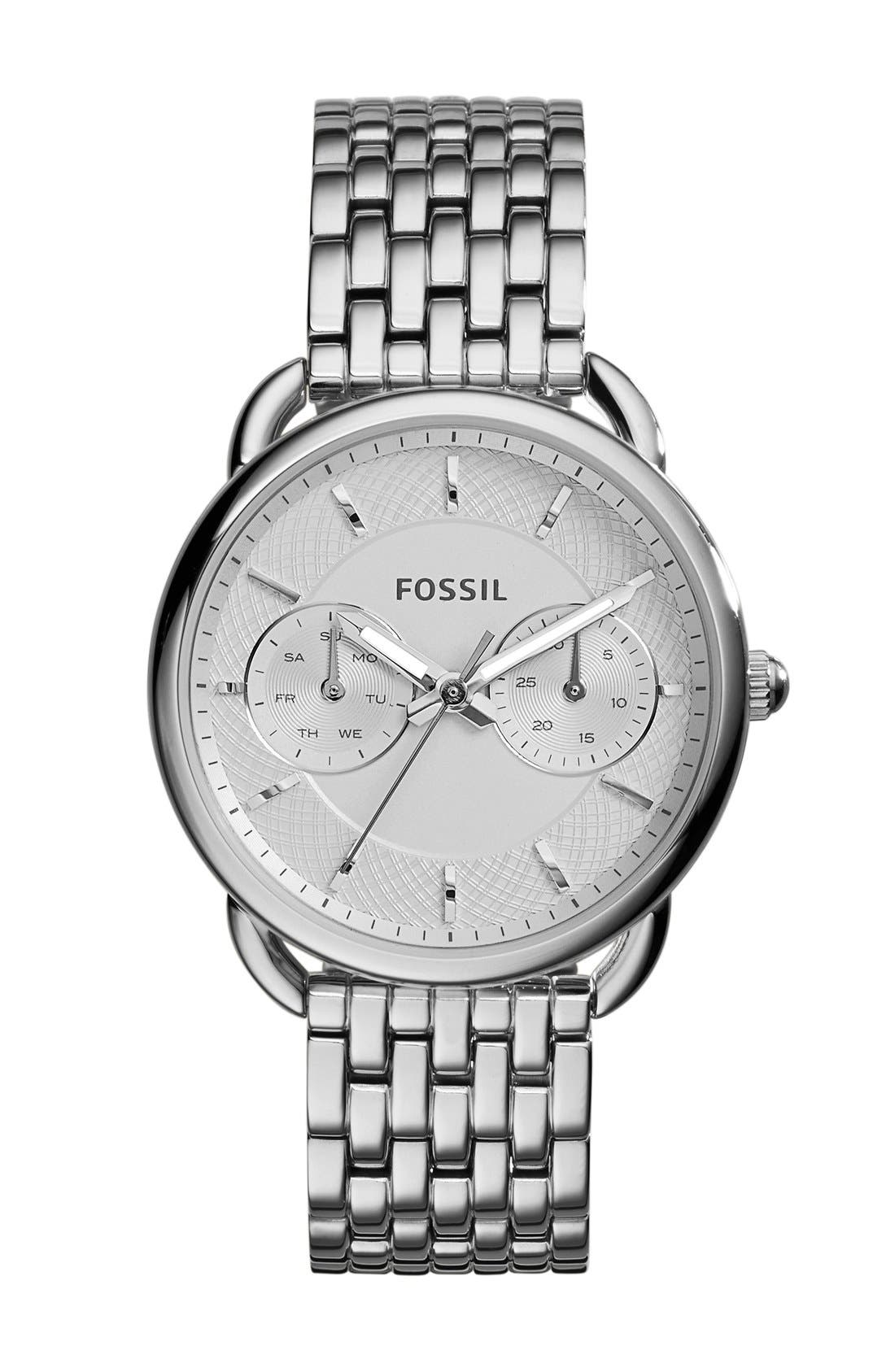 FOSSIL 'Tailor' Multifunction Bracelet Watch, 16mm, Main, color, SILVER