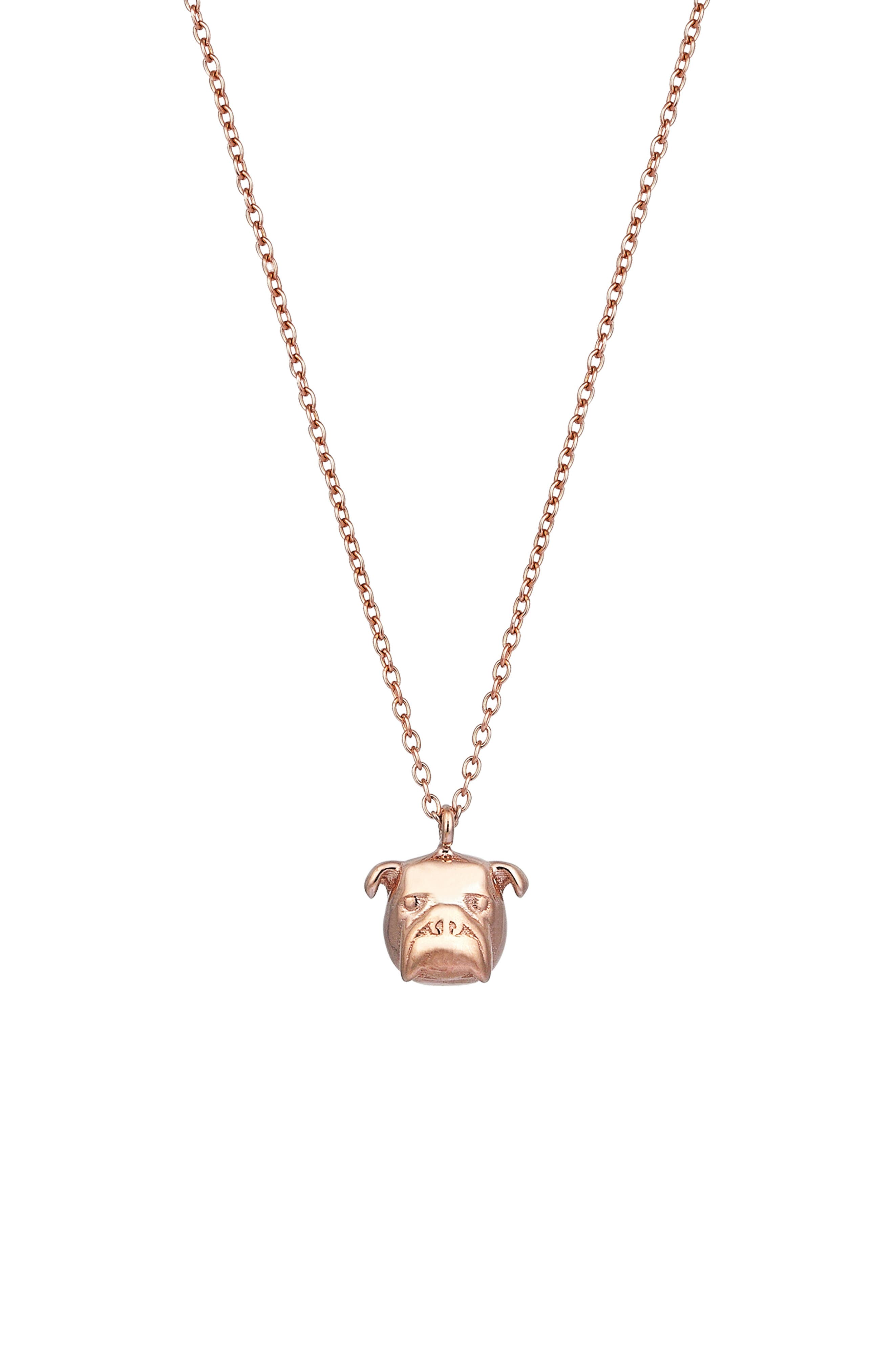 KISMET BY MILKA, Baby Dog Pendant Necklace, Main thumbnail 1, color, ROSE GOLD
