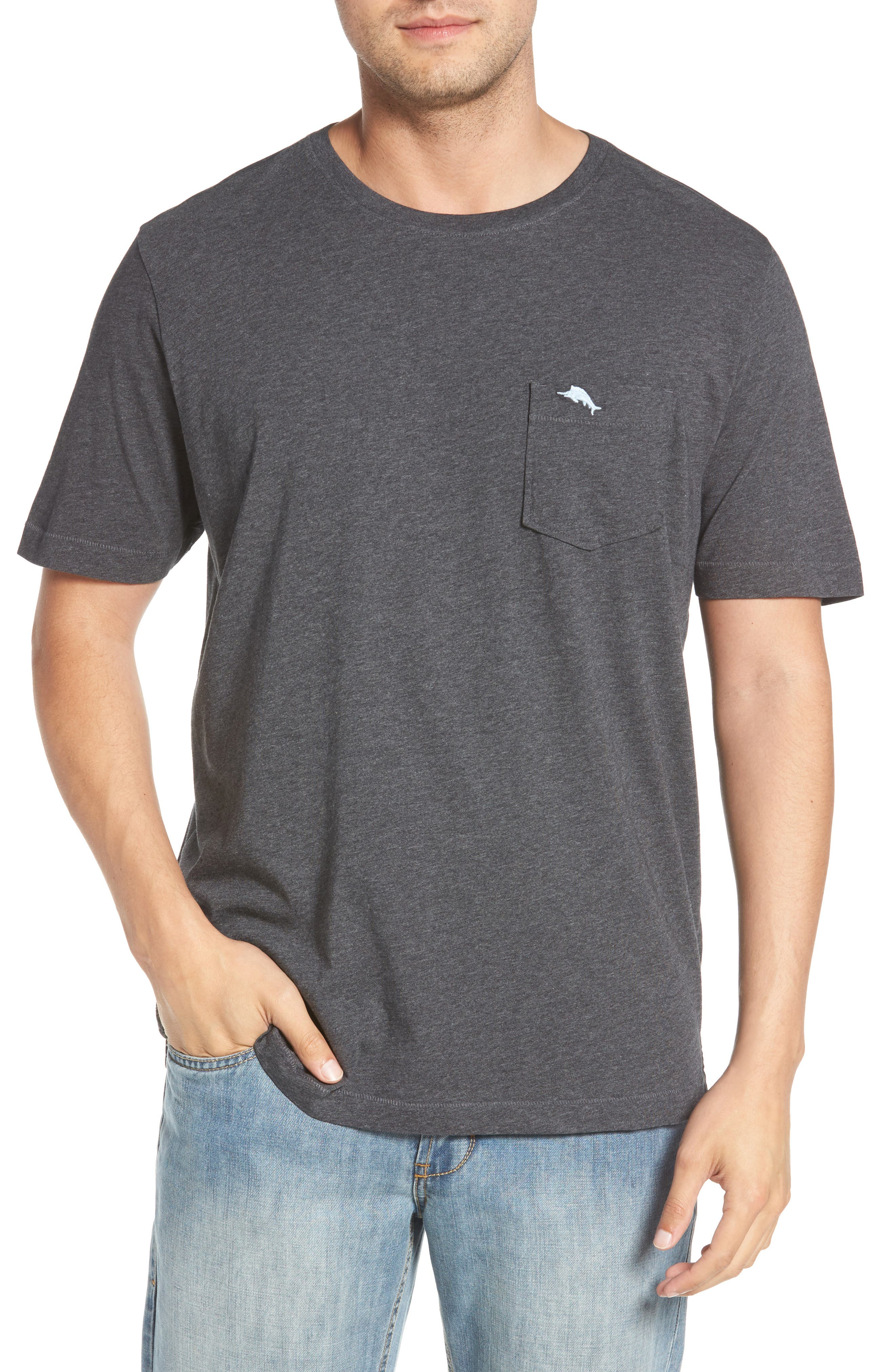 TOMMY BAHAMA, 'New Bali Sky' Original Fit Crewneck Pocket T-Shirt, Main thumbnail 1, color, CHARCOAL HEATHER
