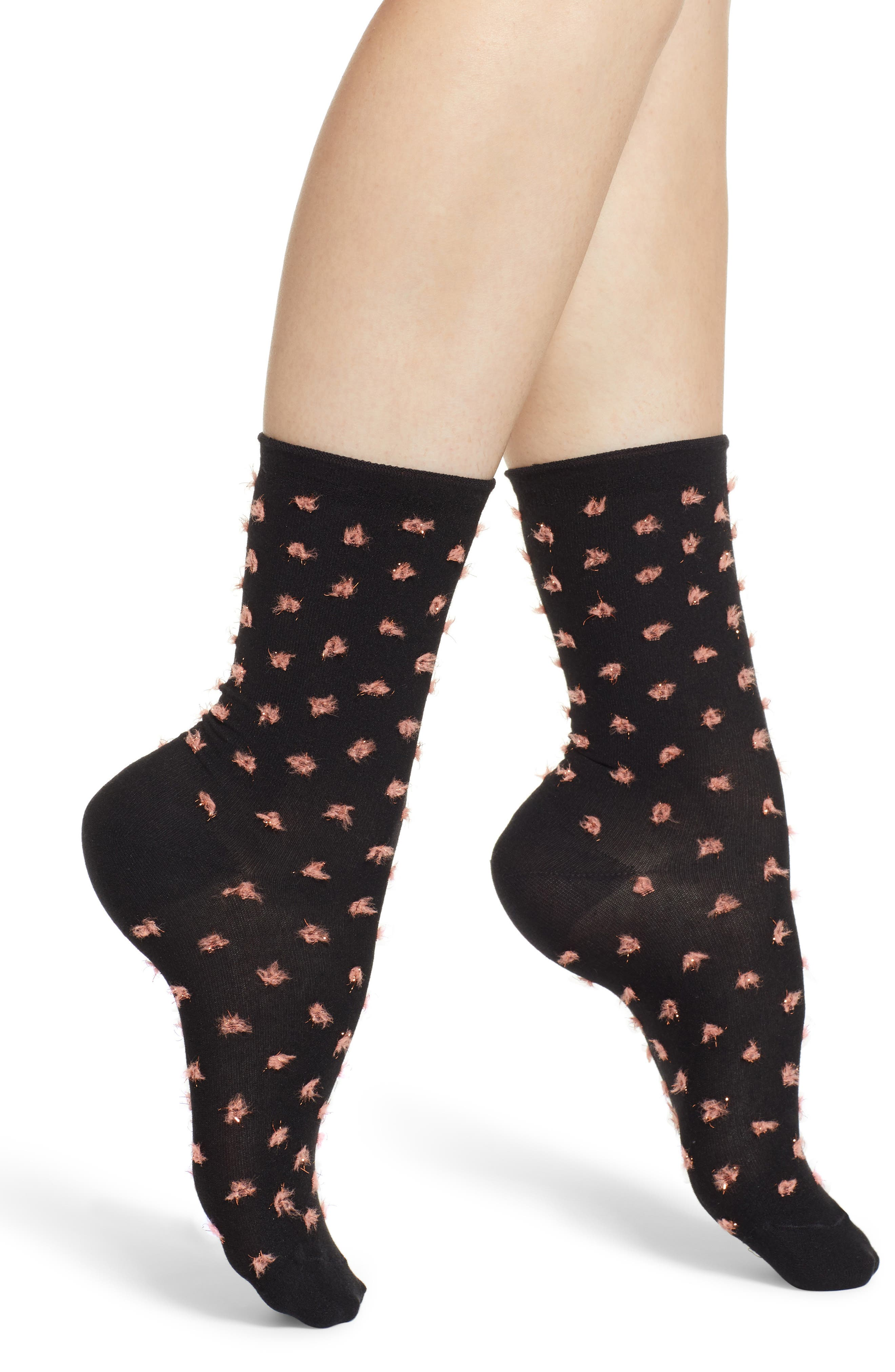 TREASURE & BOND, Inverted Rolltop Textured Crew Socks, Main thumbnail 1, color, BLACK