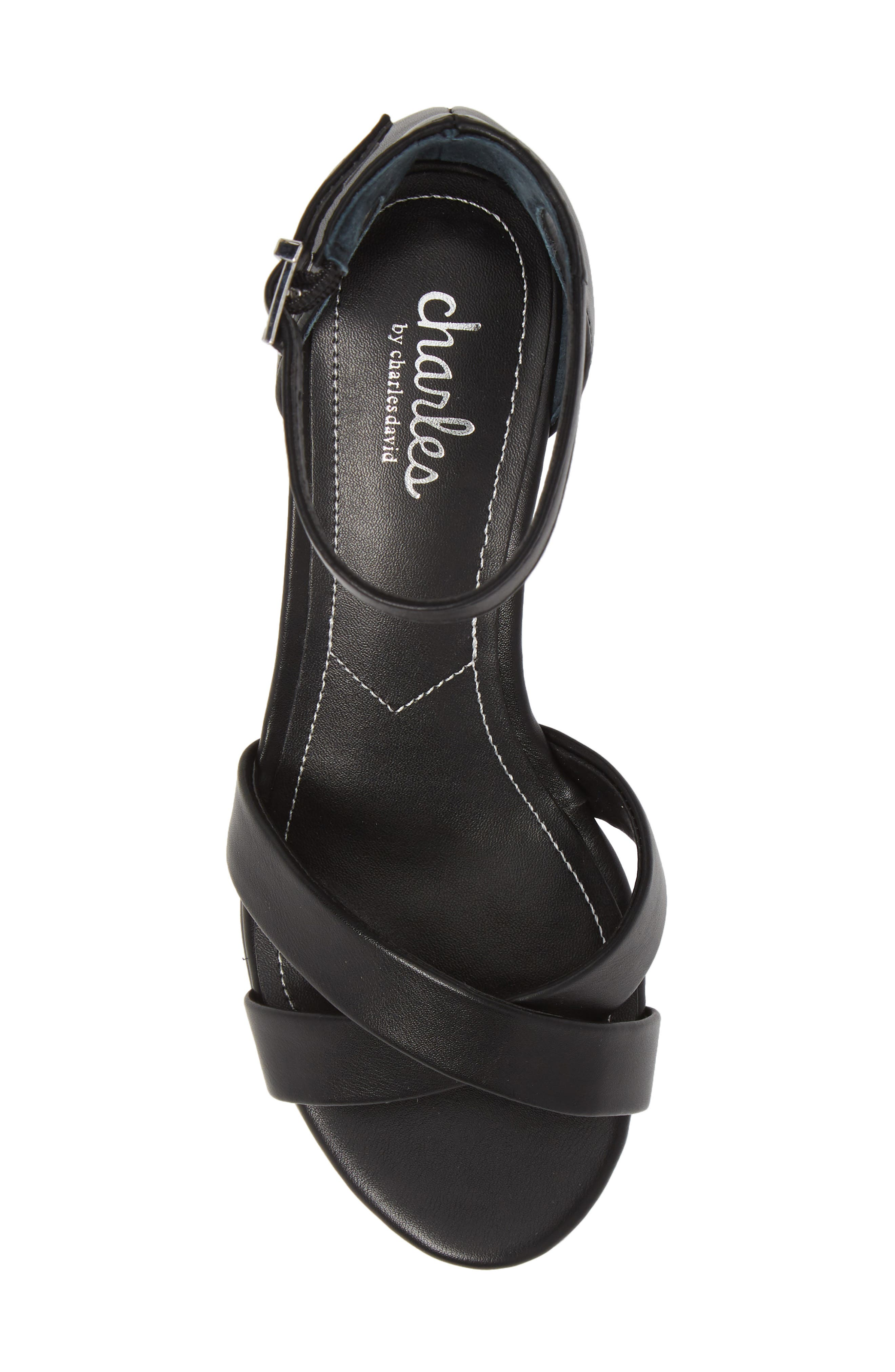CHARLES BY CHARLES DAVID, Griffin Ankle Strap Wedge, Alternate thumbnail 5, color, BLACK FAUX LEATHER