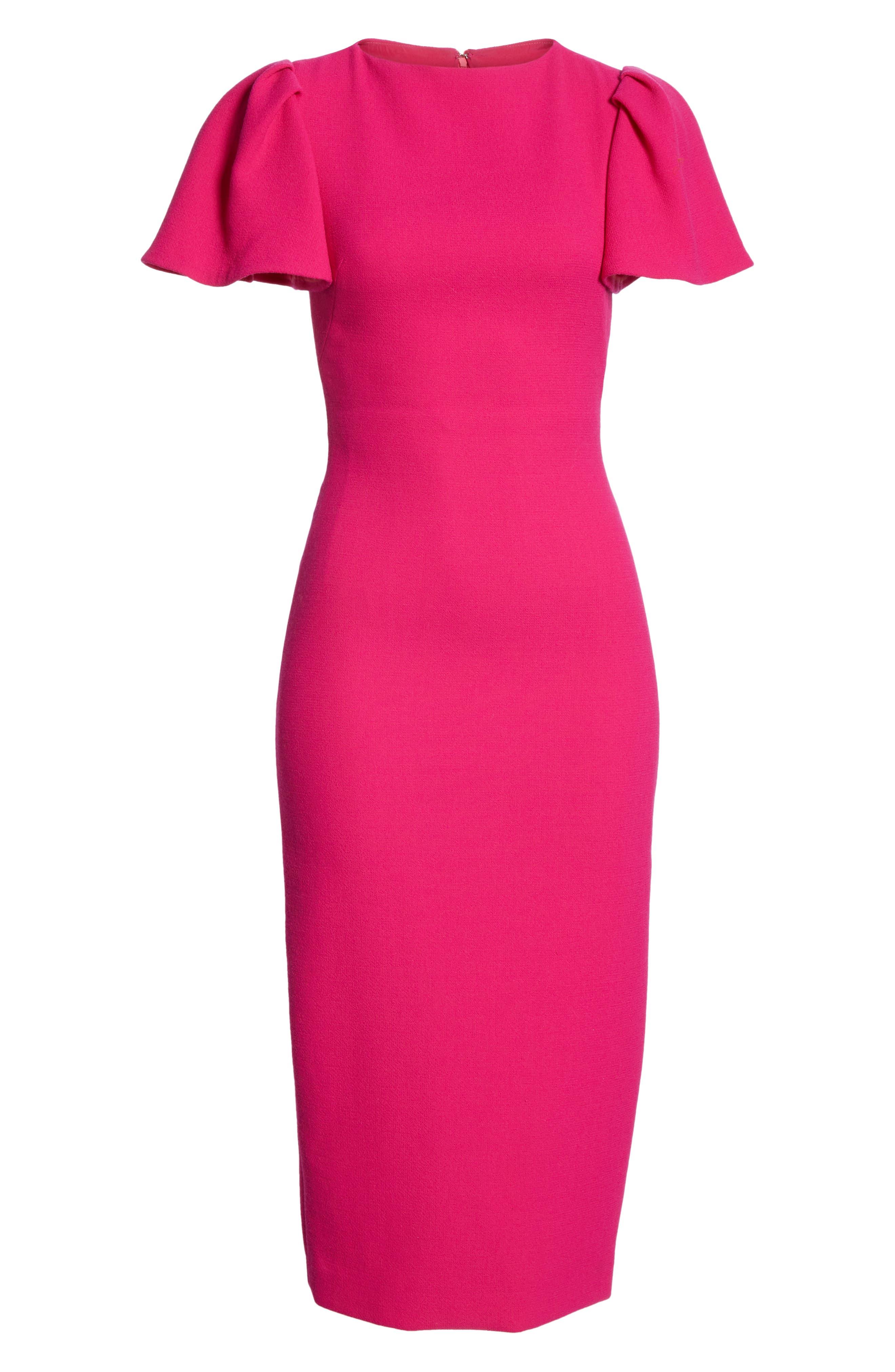 BRANDON MAXWELL, Flutter Sleeve Sheath Dress, Alternate thumbnail 7, color, MAGENTA