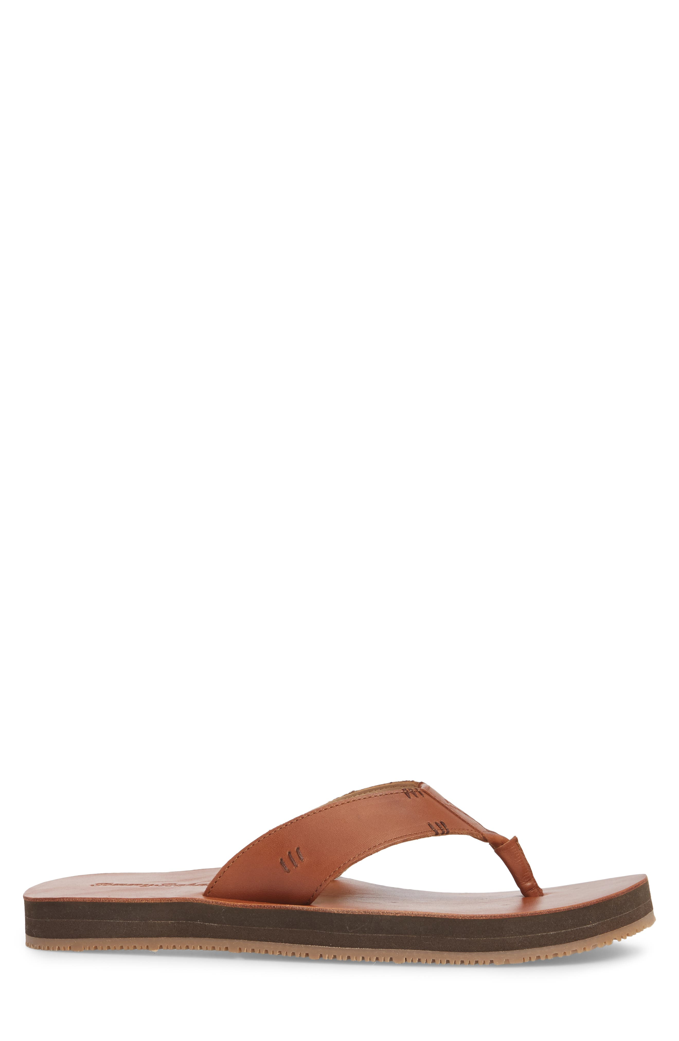TOMMY BAHAMA, Adderly Flip Flop, Alternate thumbnail 3, color, TAN LEATHER
