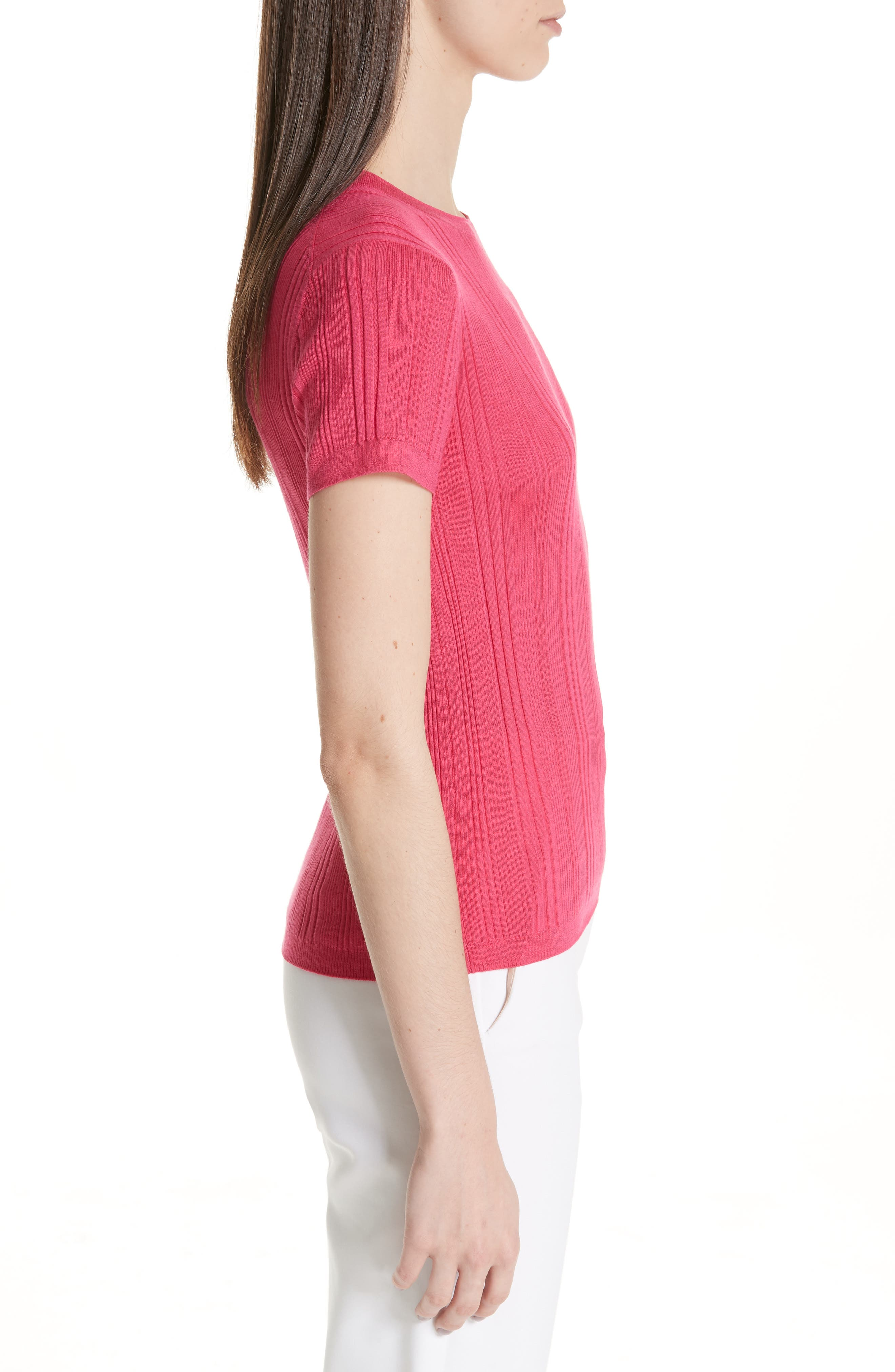 ST. JOHN COLLECTION, Superfine Variegated Rib Sweater, Alternate thumbnail 3, color, FLAMINGO