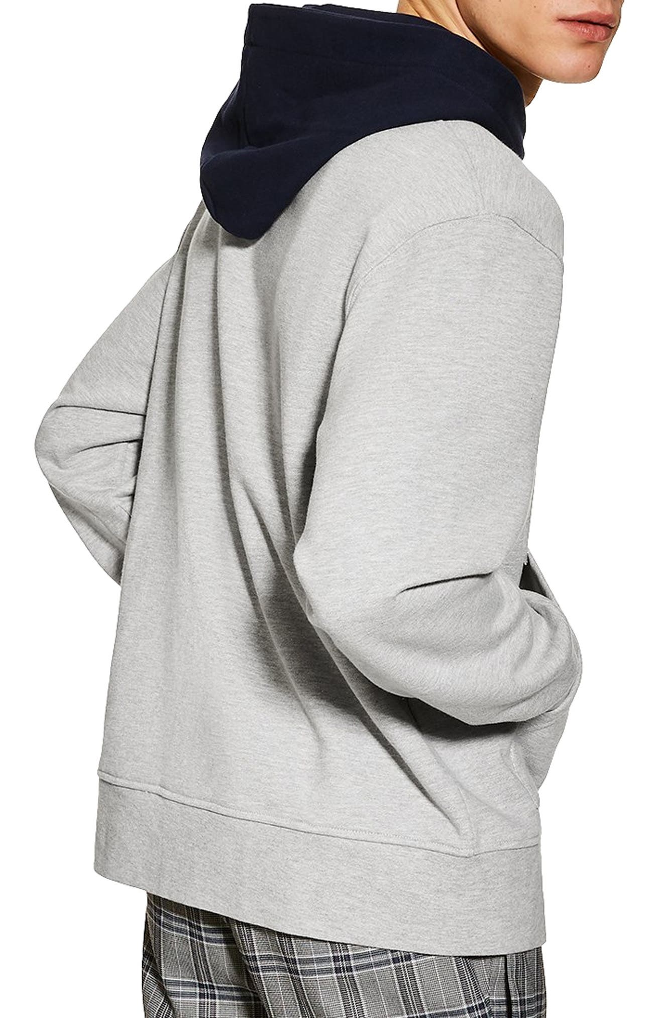 TOPMAN, Classic Contrast Hooded Sweatshirt, Alternate thumbnail 2, color, GREY