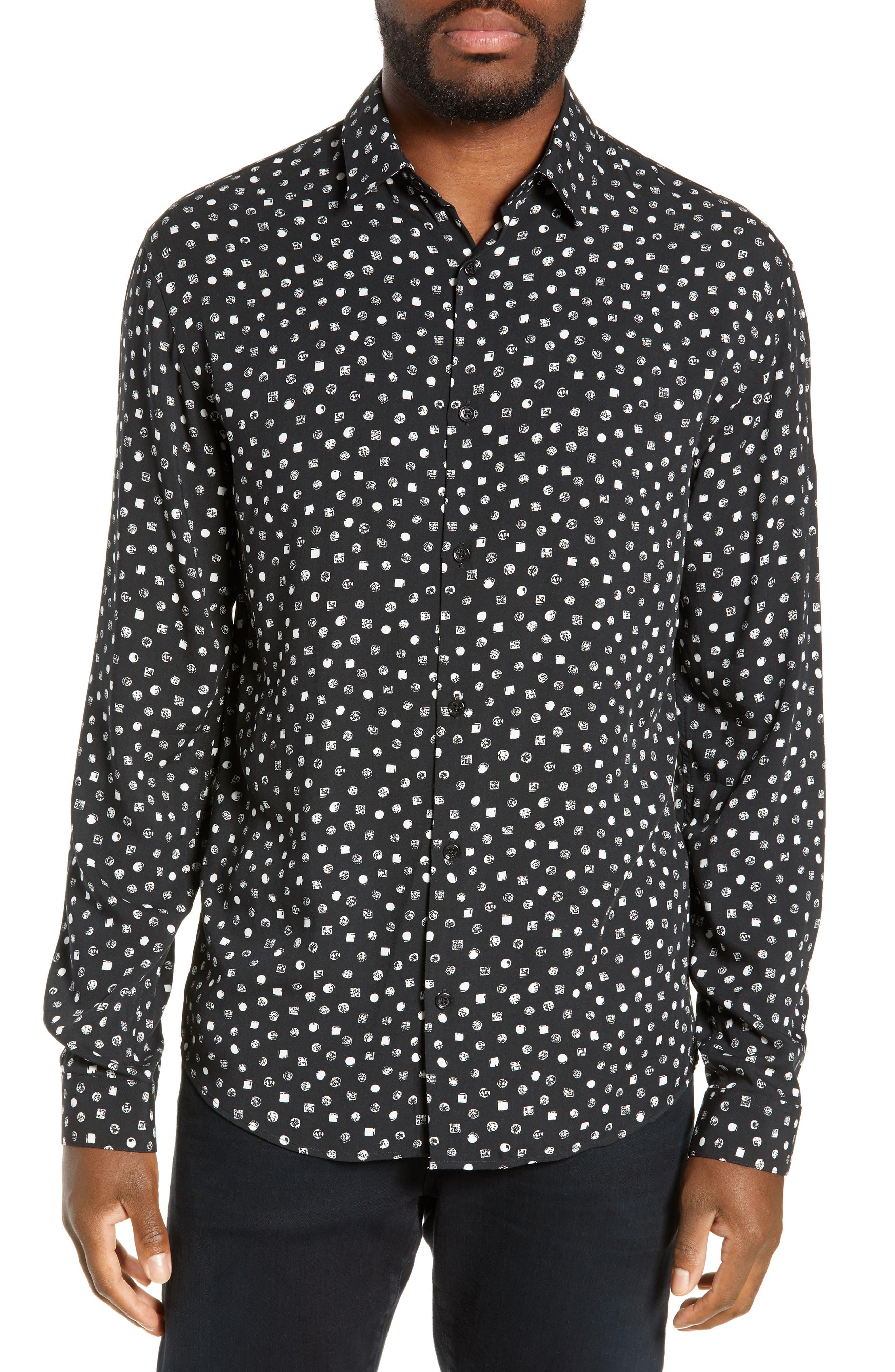 THE KOOPLES, Classic Fit Print Sport Shirt, Main thumbnail 1, color, BLACK WHITE