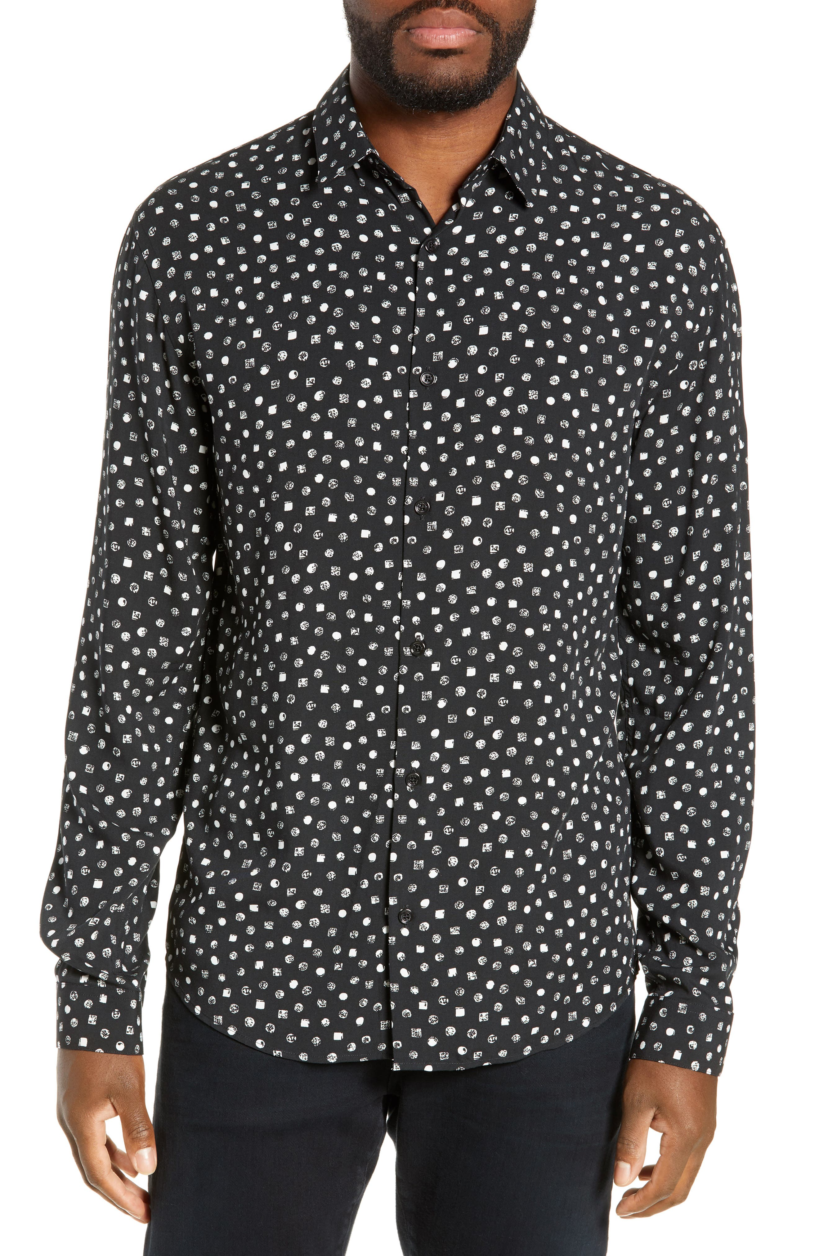 THE KOOPLES Classic Fit Print Sport Shirt, Main, color, BLACK WHITE