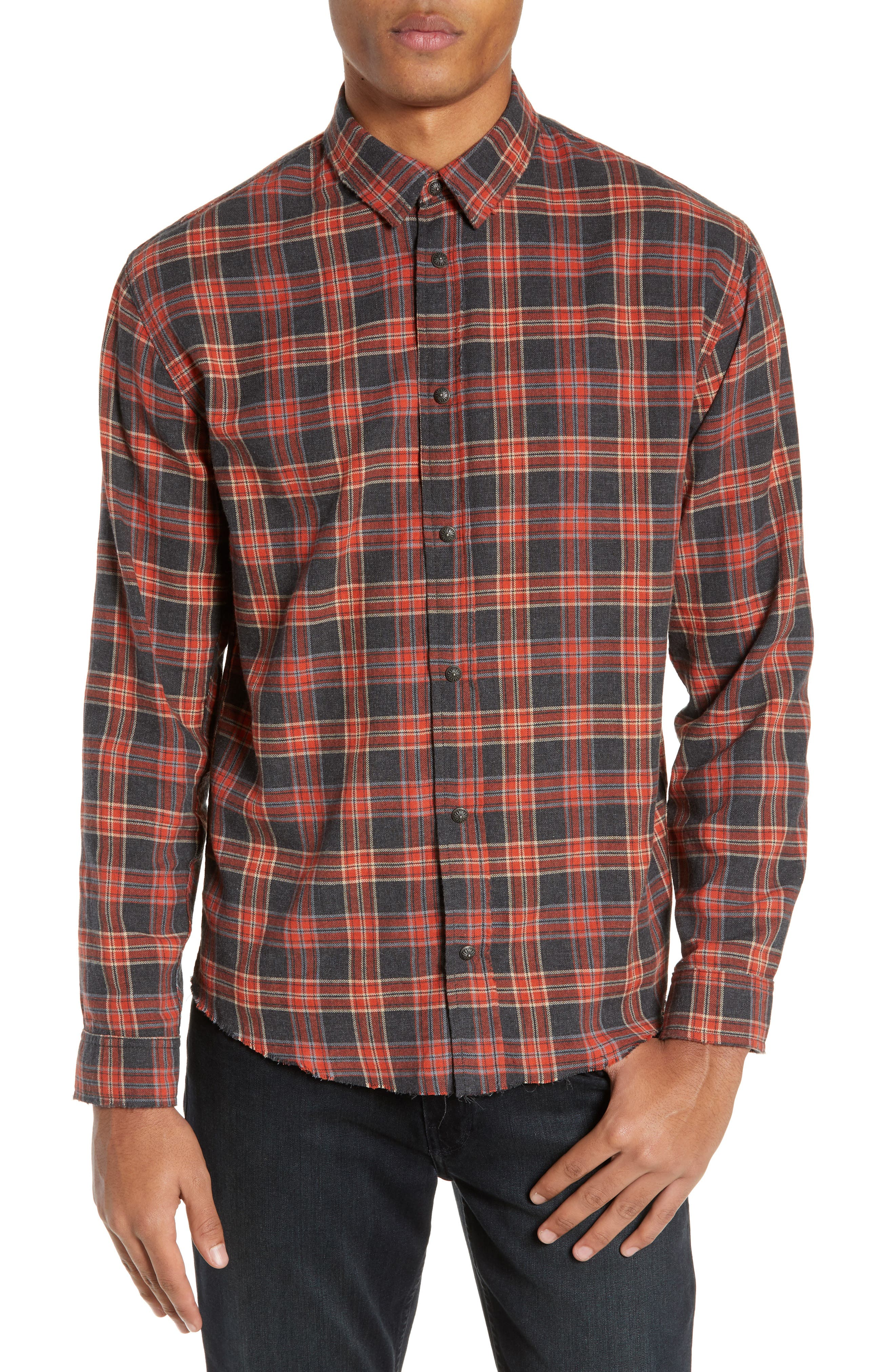 THE KOOPLES, Plaid Regular Fit Flannel Shirt, Main thumbnail 1, color, 800