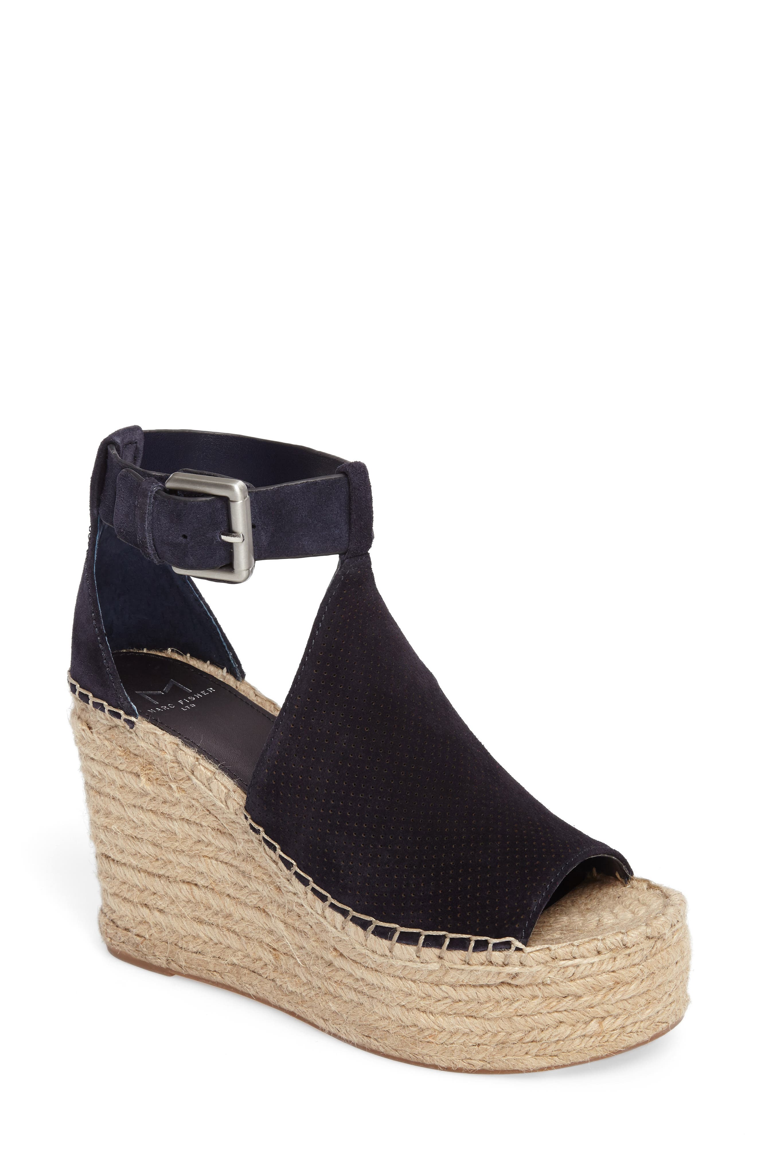 MARC FISHER LTD, Annie Perforated Espadrille Platform Wedge, Main thumbnail 1, color, 435