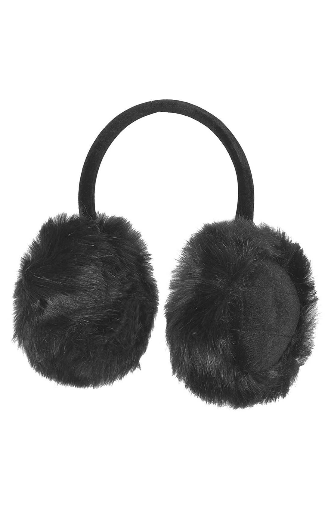 TOPSHOP, 'Core' Faux Fur Earmuffs, Main thumbnail 1, color, 001