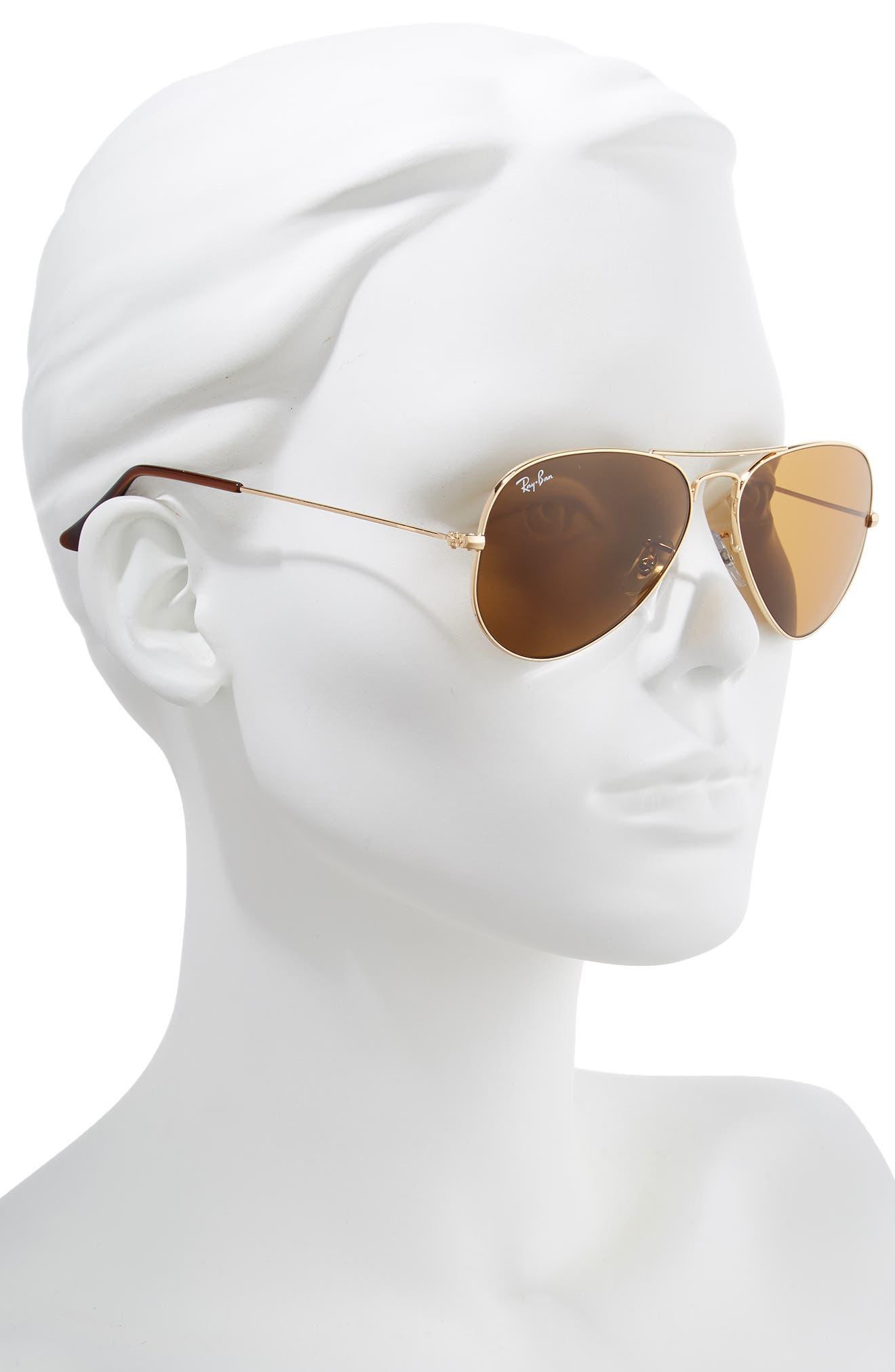 RAY-BAN, Small Original 55mm Aviator Sunglasses, Alternate thumbnail 2, color, GOLD/ BROWN SOLID