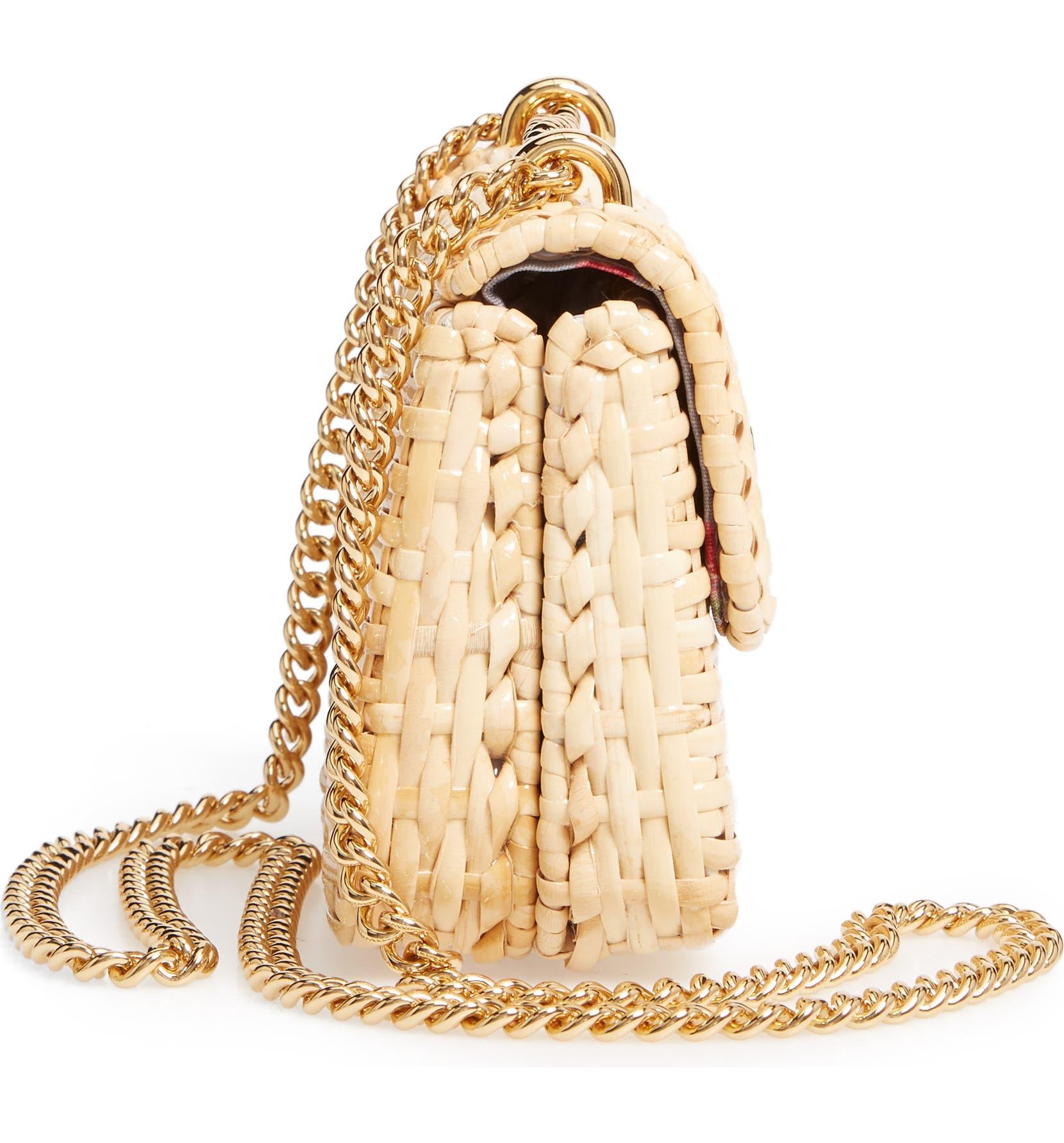 2e32cc05298 Gucci Linea Cestino Glazed Wicker Mini Shoulder Bag