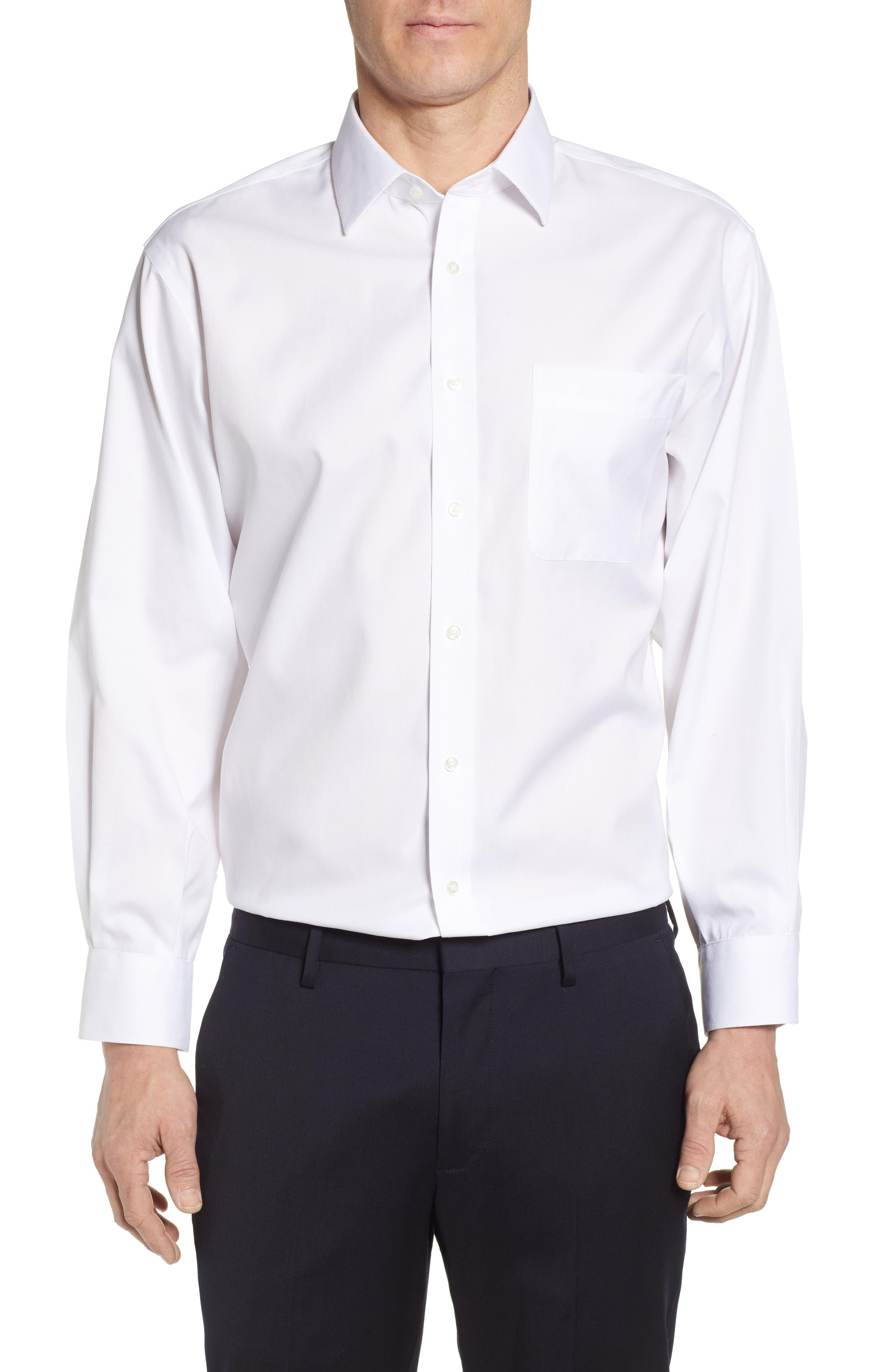NORDSTROM MEN'S SHOP, Smartcare<sup>™</sup> Classic Fit Solid Dress Shirt, Main thumbnail 1, color, WHITE BRILLIANT