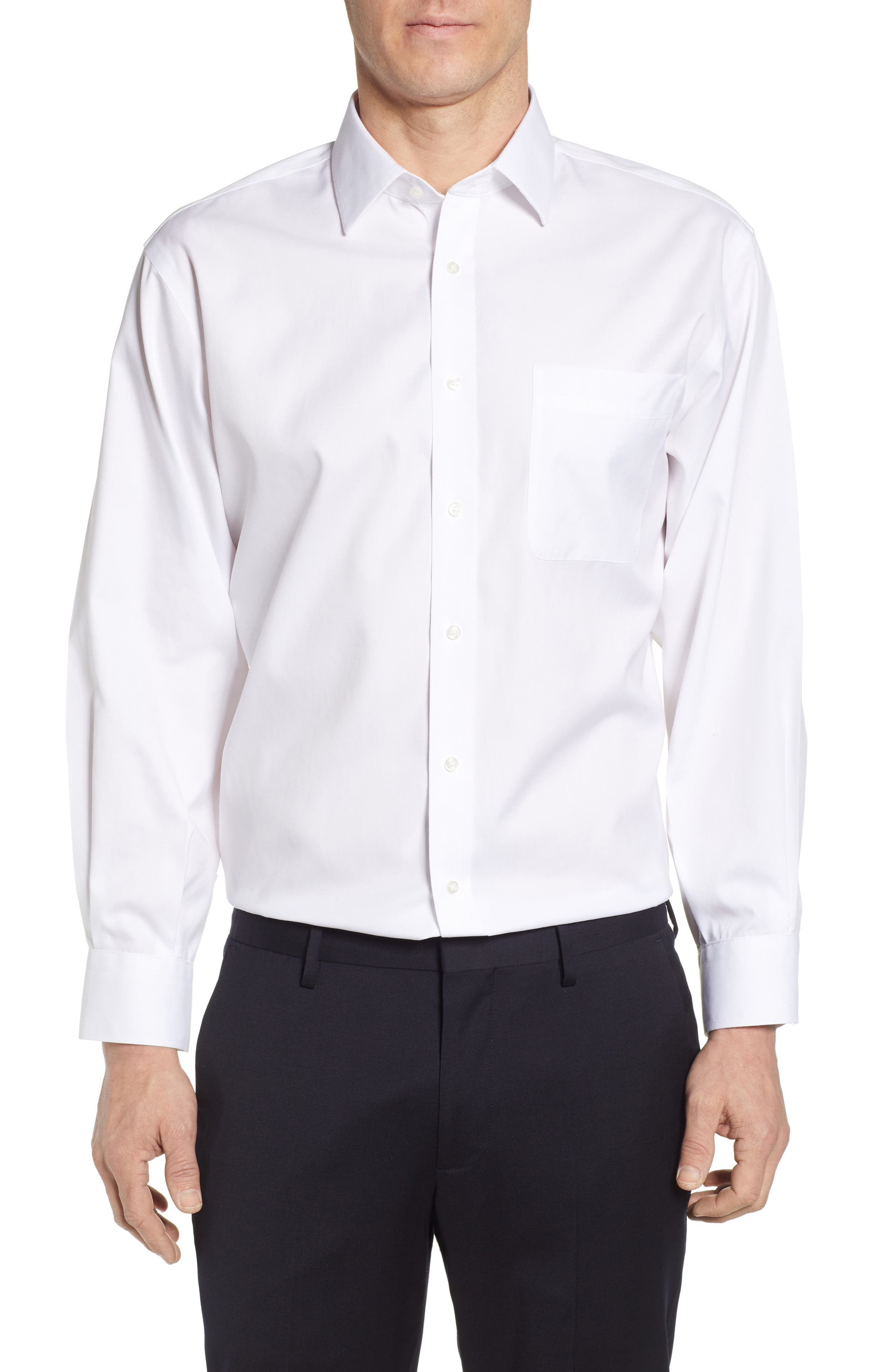 NORDSTROM MEN'S SHOP Smartcare<sup>™</sup> Classic Fit Solid Dress Shirt, Main, color, WHITE BRILLIANT