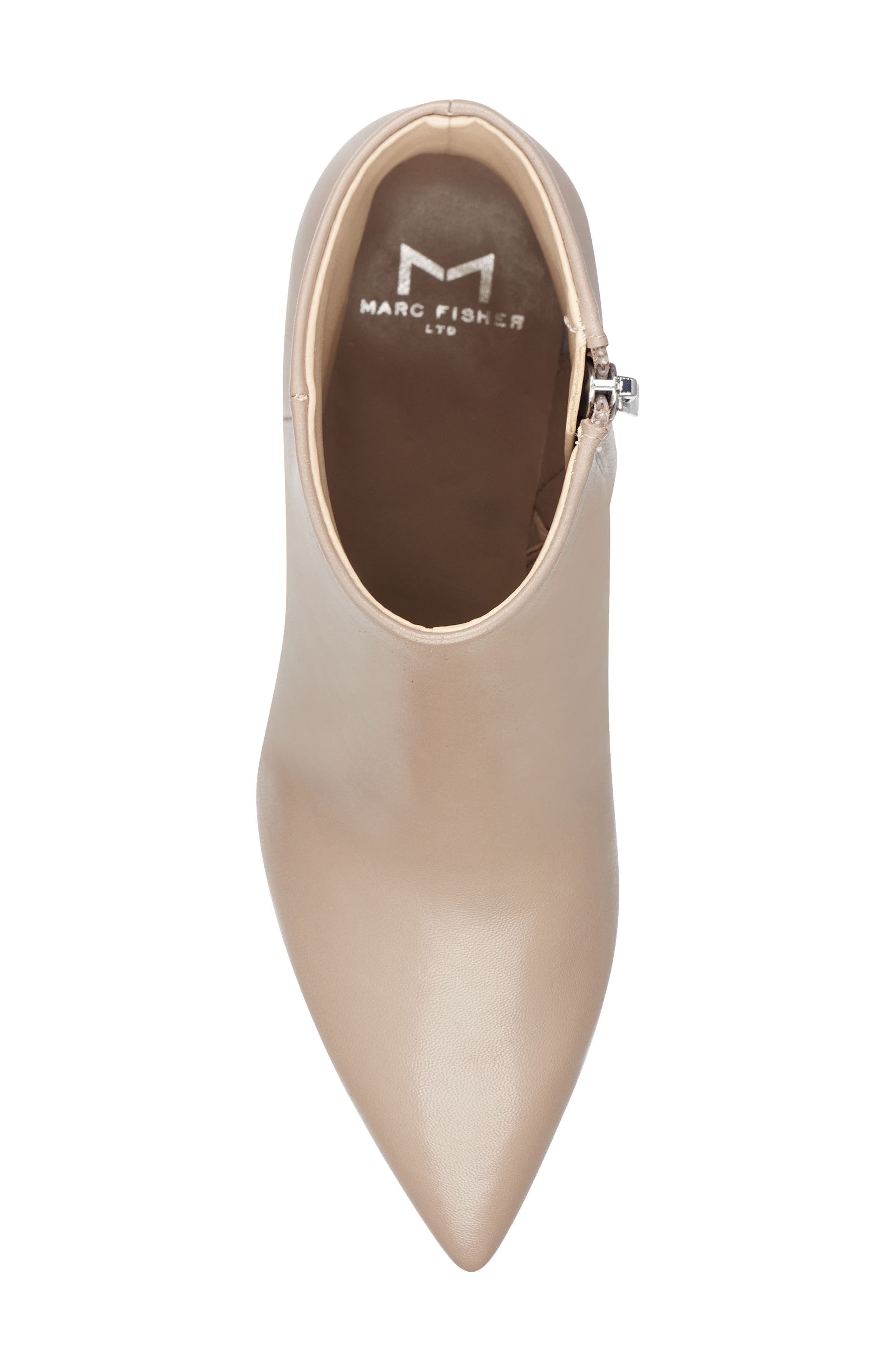 MARC FISHER LTD, Jarli Bootie, Alternate thumbnail 5, color, TAUPE LEATHER