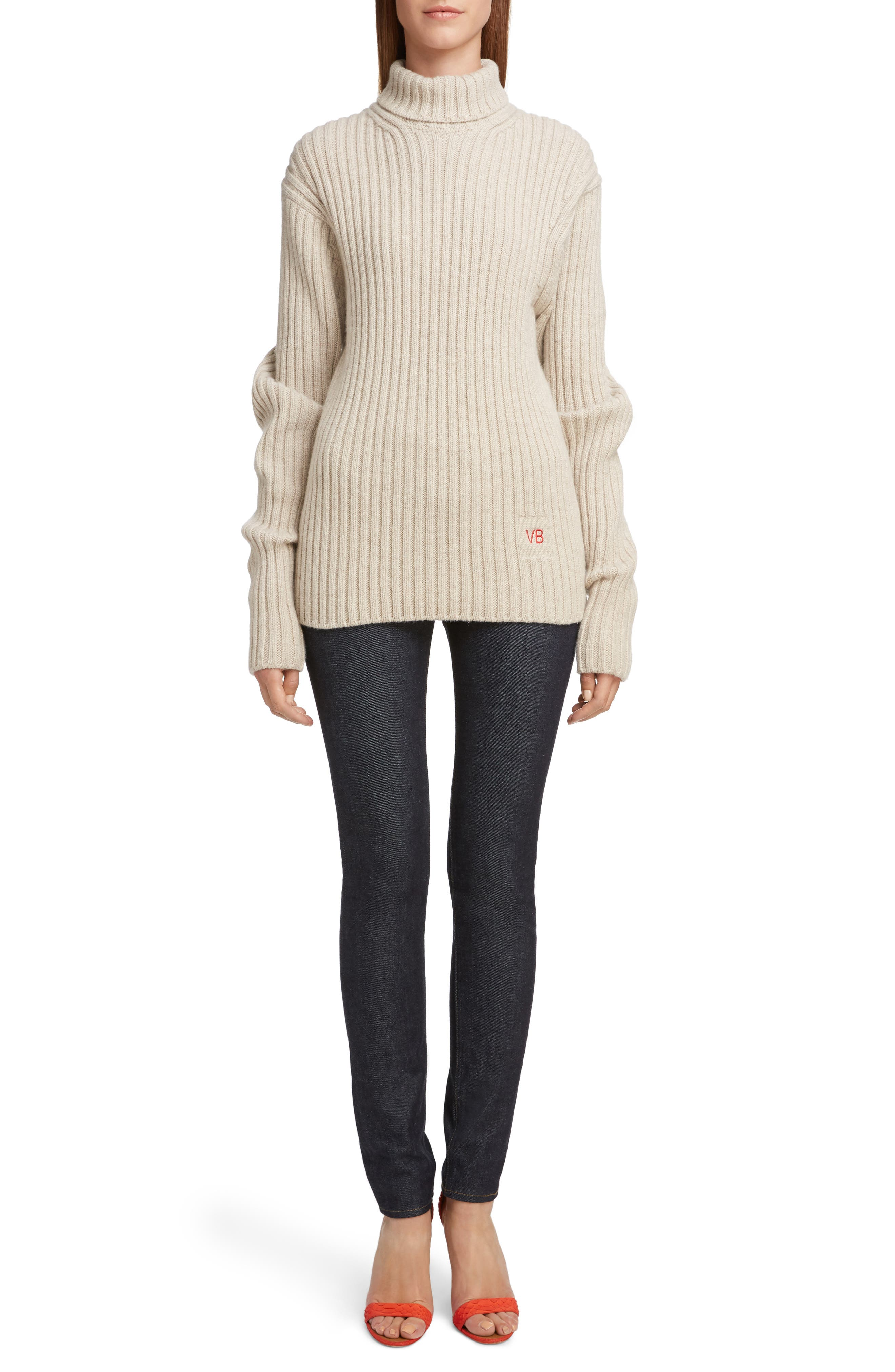 VICTORIA BECKHAM, Ribbed Wool Turtleneck Sweater, Main thumbnail 1, color, OATMEAL