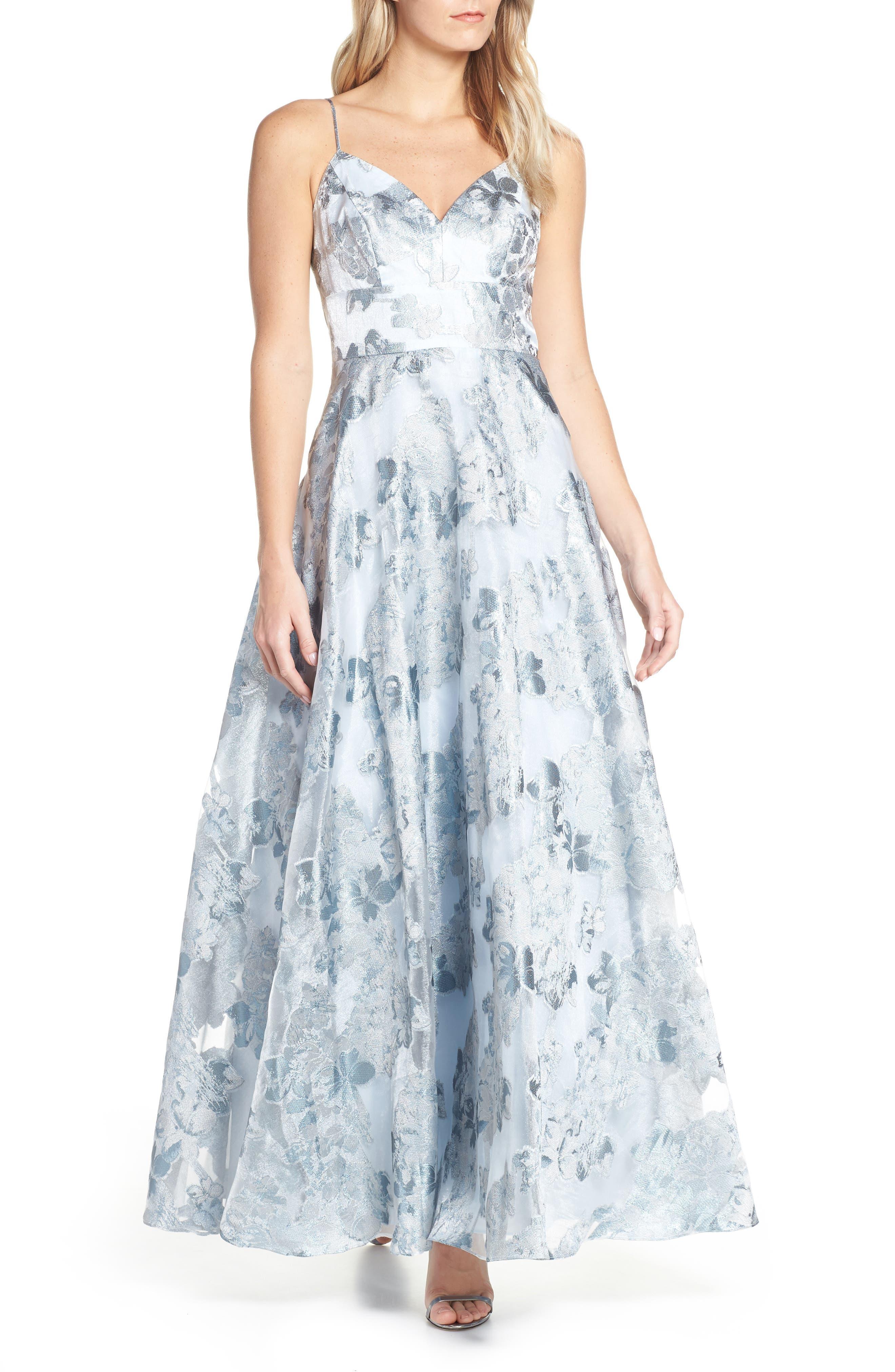 Eliza J Floral Jacquard Evening Dress, Blue