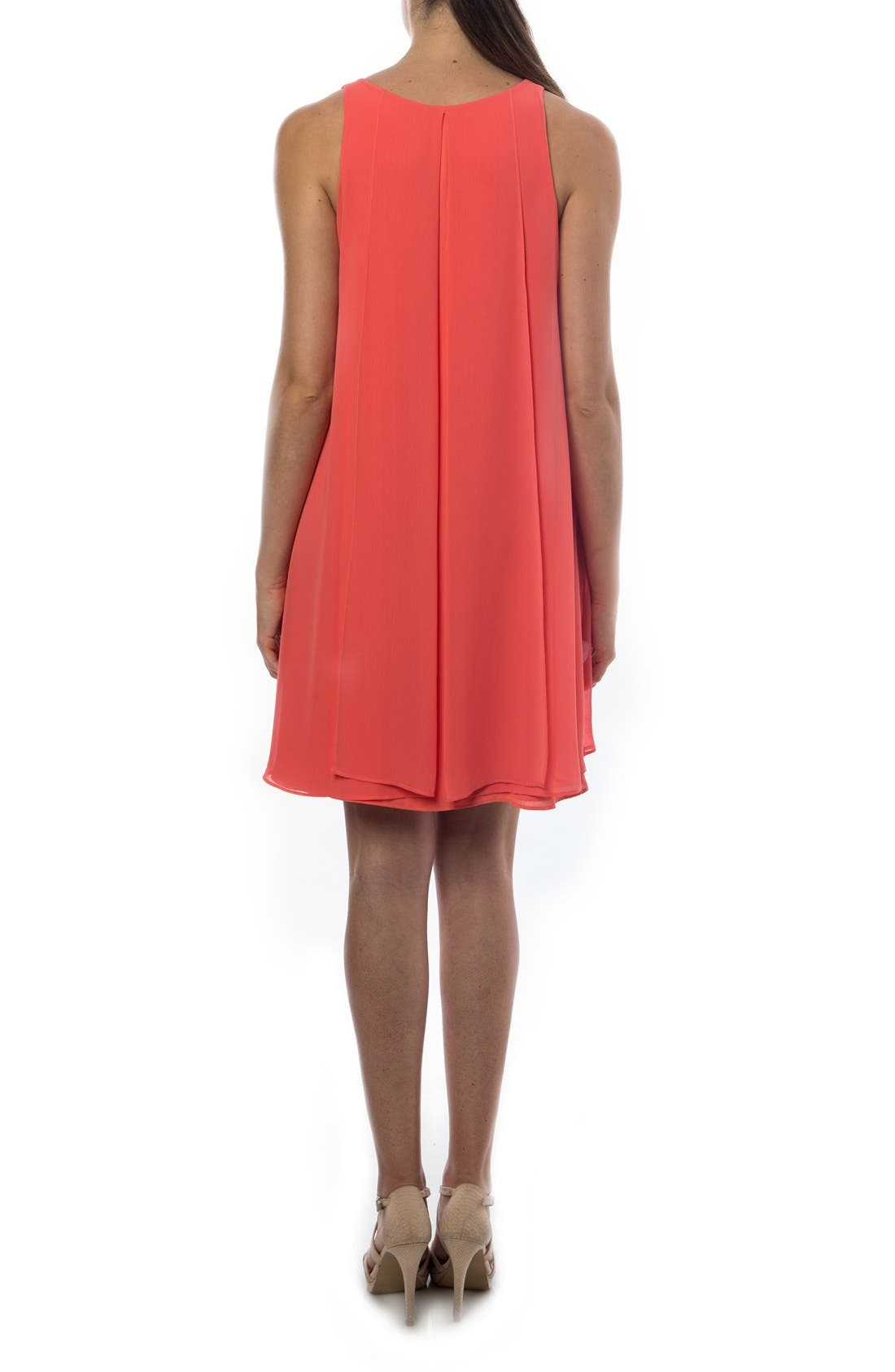 PIETRO BRUNELLI, 'Lago Di Como' High/Low Maternity Dress, Alternate thumbnail 3, color, ANEMONE/ CORAL