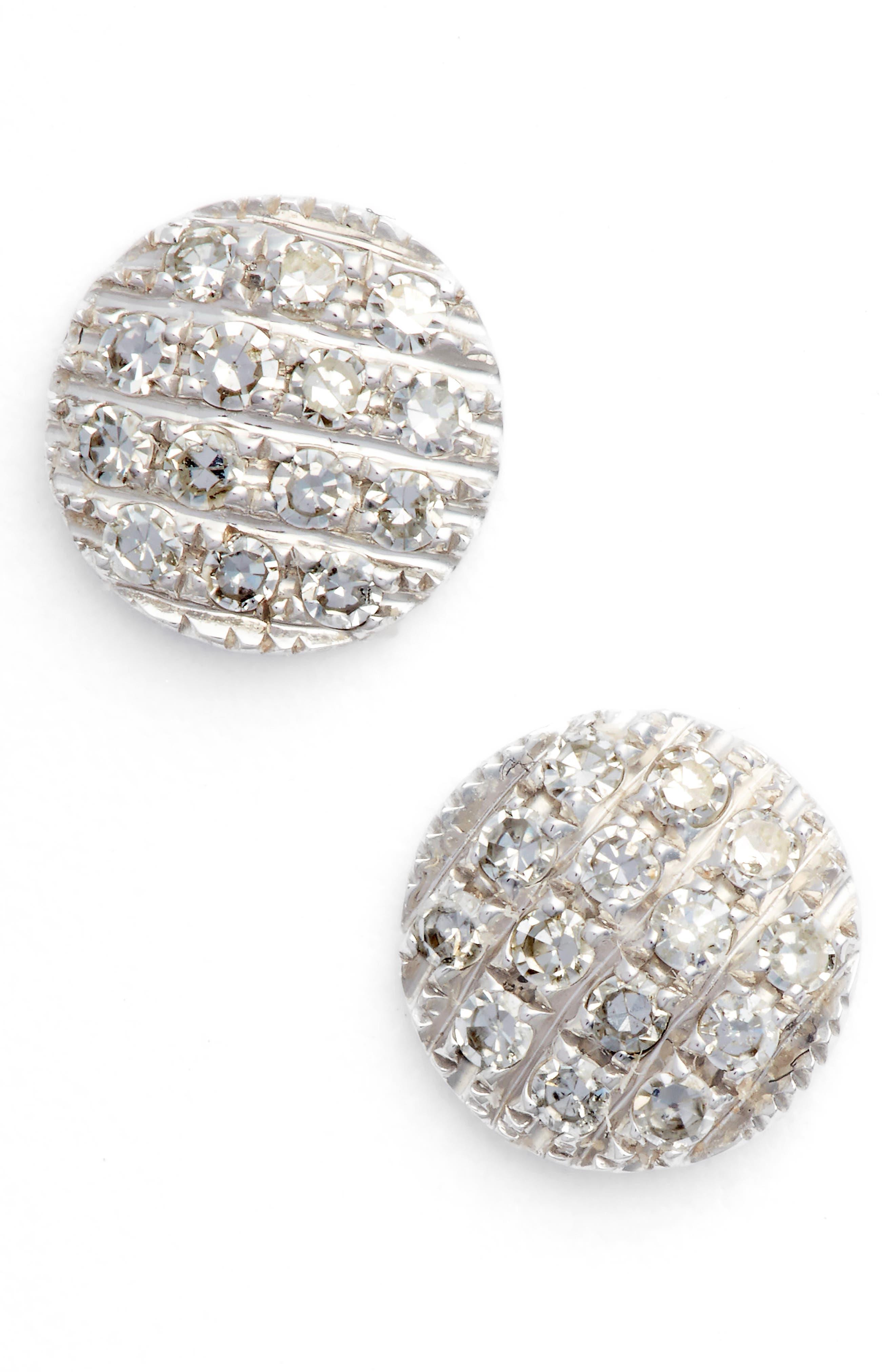 DANA REBECCA DESIGNS, 'Lauren Joy' Diamond Disc Stud Earrings, Main thumbnail 1, color, WHITE GOLD