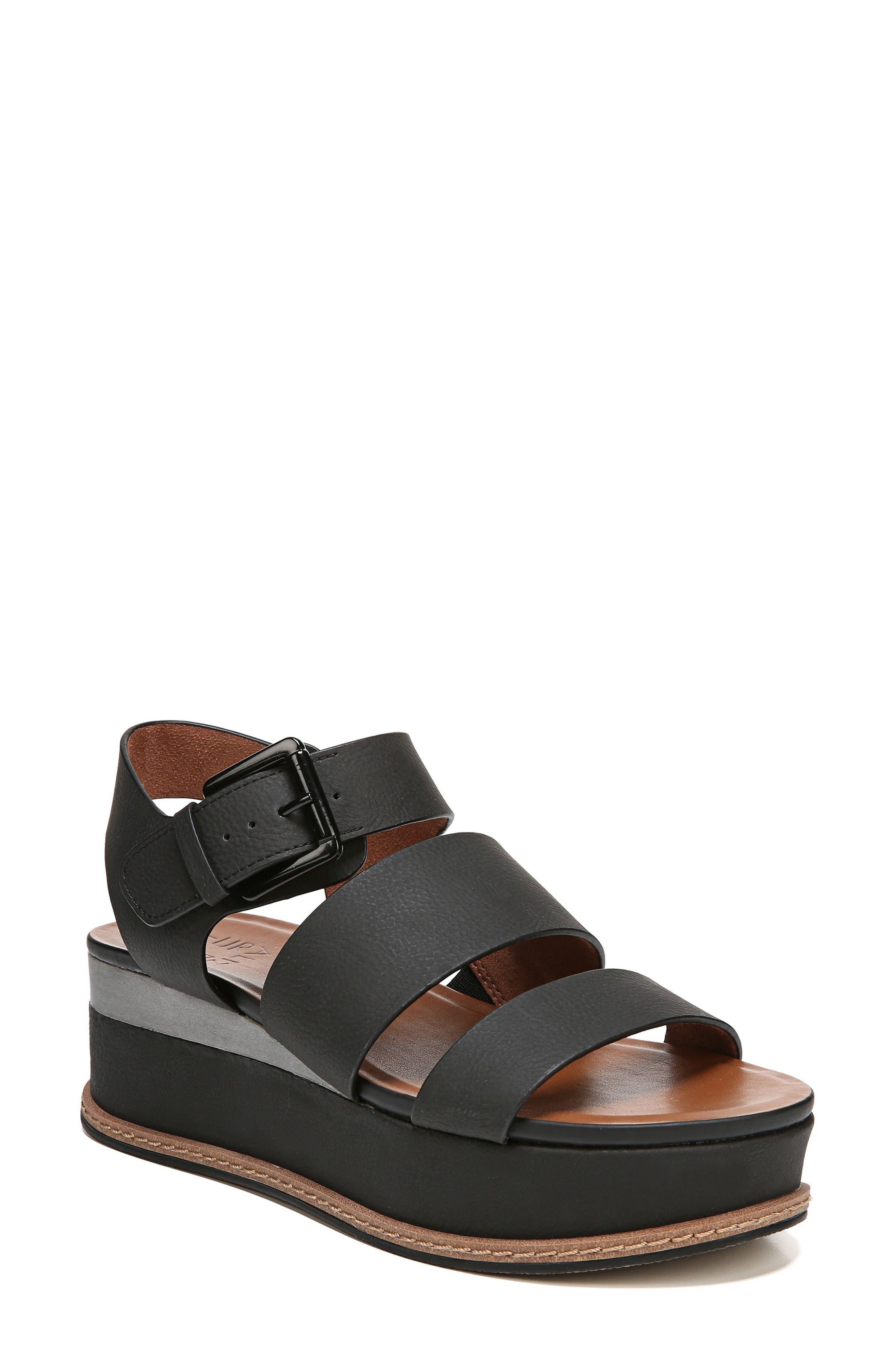 NATURALIZER, Billie Platform Sandal, Main thumbnail 1, color, BLACK FAUX NUBUCK LEATHER
