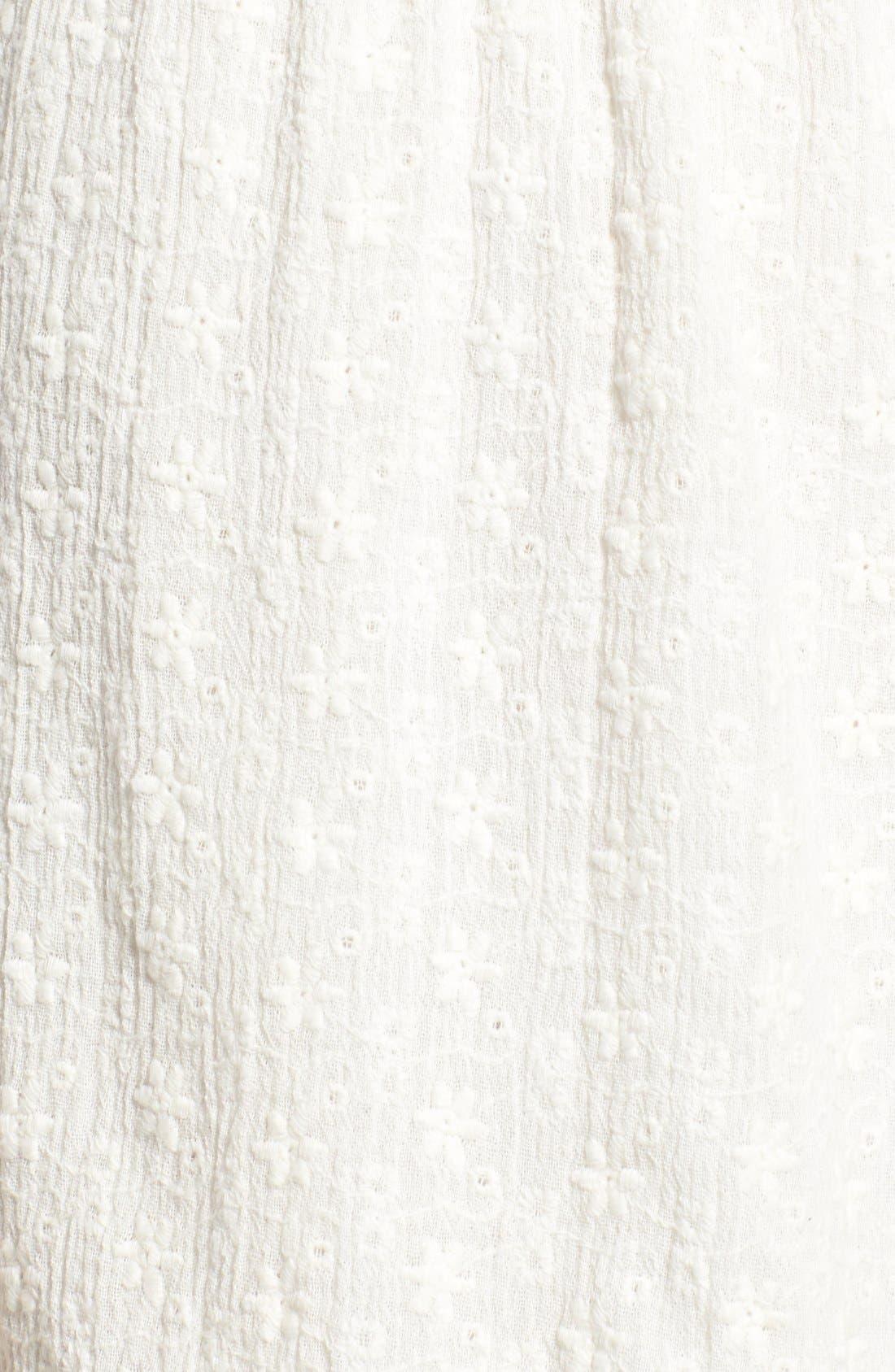 WAYF, Lace-Up Cotton Romper, Alternate thumbnail 3, color, 100